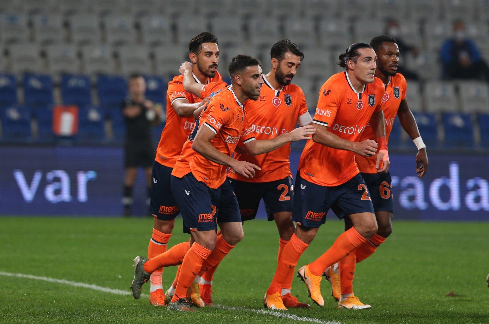 Başakşehir players celebrate a goal during a Süper Lig match against Antalyaspor, in Istanbul, Turkey, Oct. 24, 2020. (AA Photo)