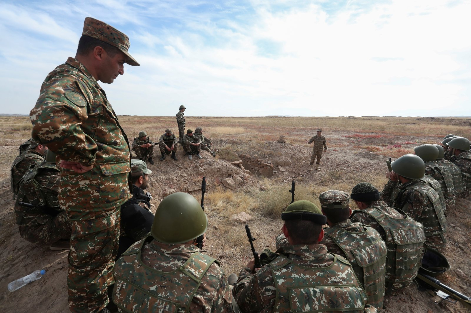 Armenian reservists undergo training at a firing range before their departure to the front line of the military conflict with the armed forces of Azerbaijan over the occupied Nagorno-Karabakh, near Yerevan, Armenia, Oct. 25, 2020. (Reuters Photo)