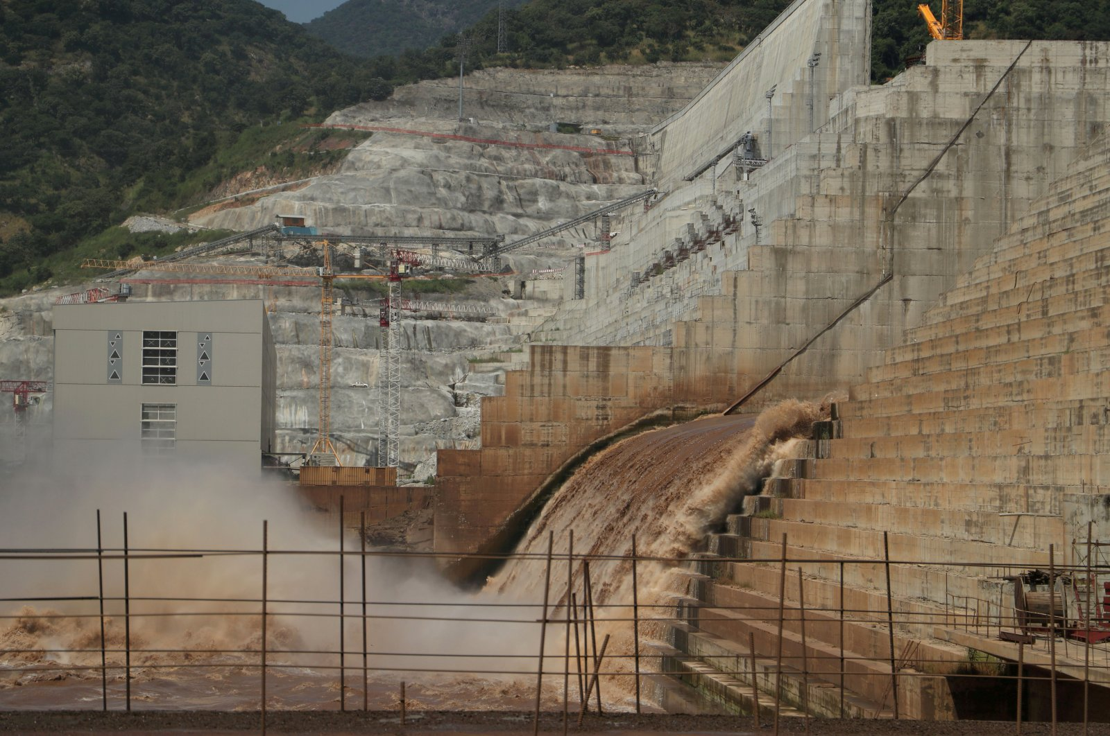Water flows through Ethiopia's Grand Renaissance Dam as it undergoes construction work on the river Nile in Guba Woreda, Benishangul Gumuz Region, Ethiopia, Sept. 26, 2019. (Reuters Photo)