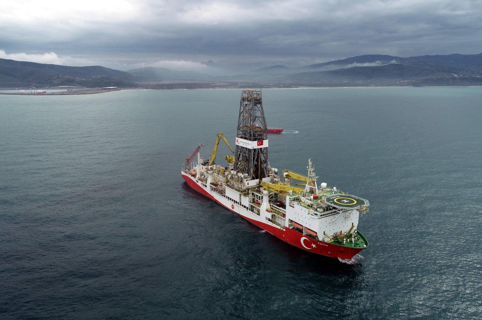 Drillship Fatih offshore from the Black Sea coast, Turkey, Oct. 20, 2020. (DHA Photo)