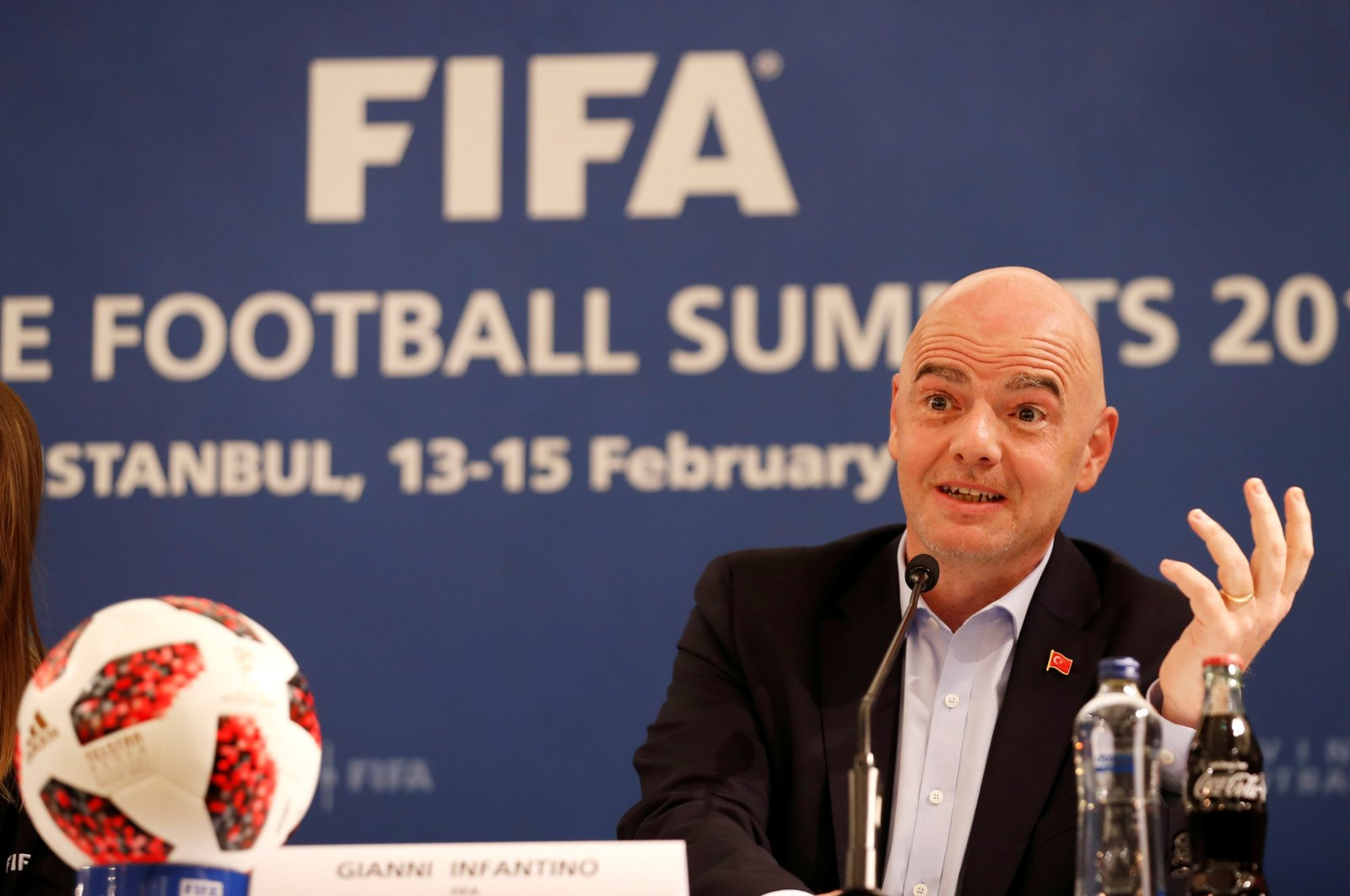 FIFA President Gianni Infantino speaking during a media briefing in Istanbul, Turkey, Feb. 15, 2019. (Reuters Photo)