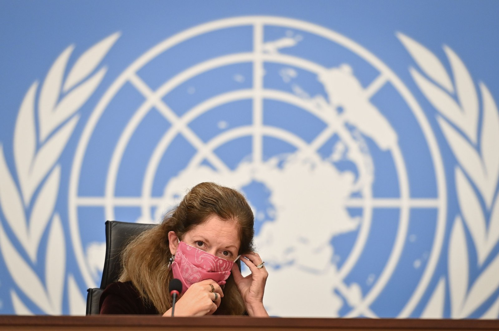 Deputy Special Representative of the UN Secretary-General for Political Affairs in Libya Stephanie Williams wears her protective face mask after a press conference on talks between the rival factions in the Libya conflict on Oct. 21, 2020 at the United Nations offices in Geneva. (AFP Photo)