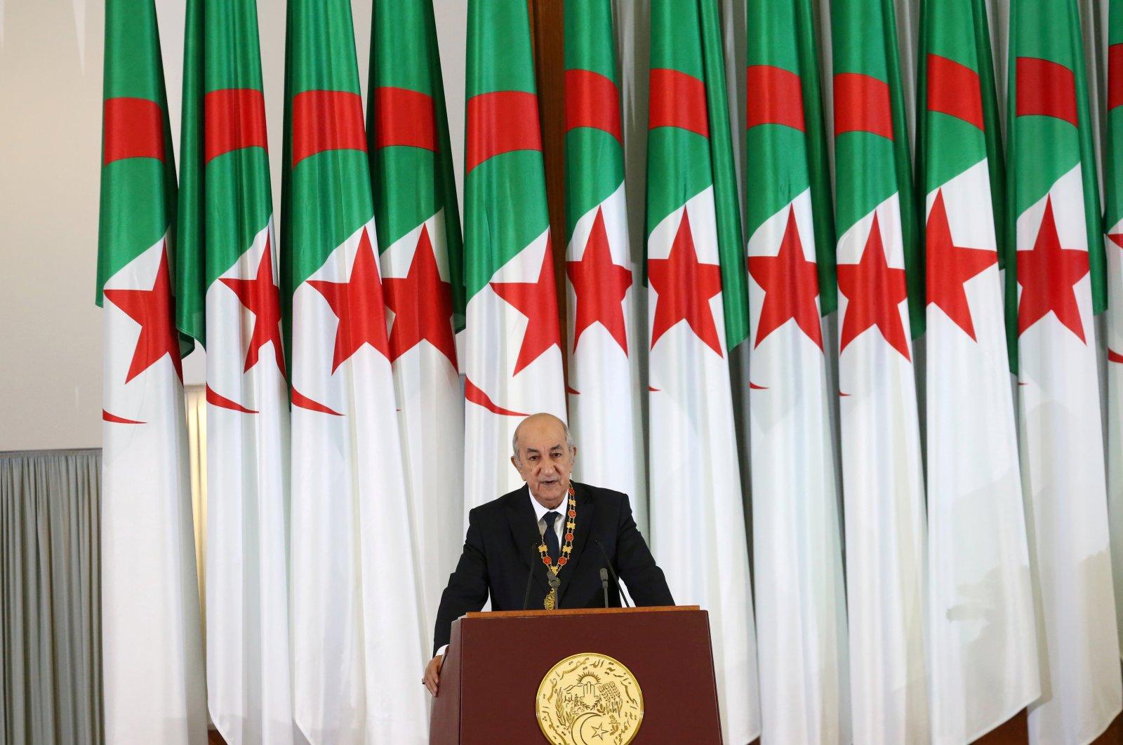 Algerian President Abdelmadjid Tebboune delivers a speech during a swearing-in ceremony in Algiers, Algeria Dec.19, 2019. (REUTERS)