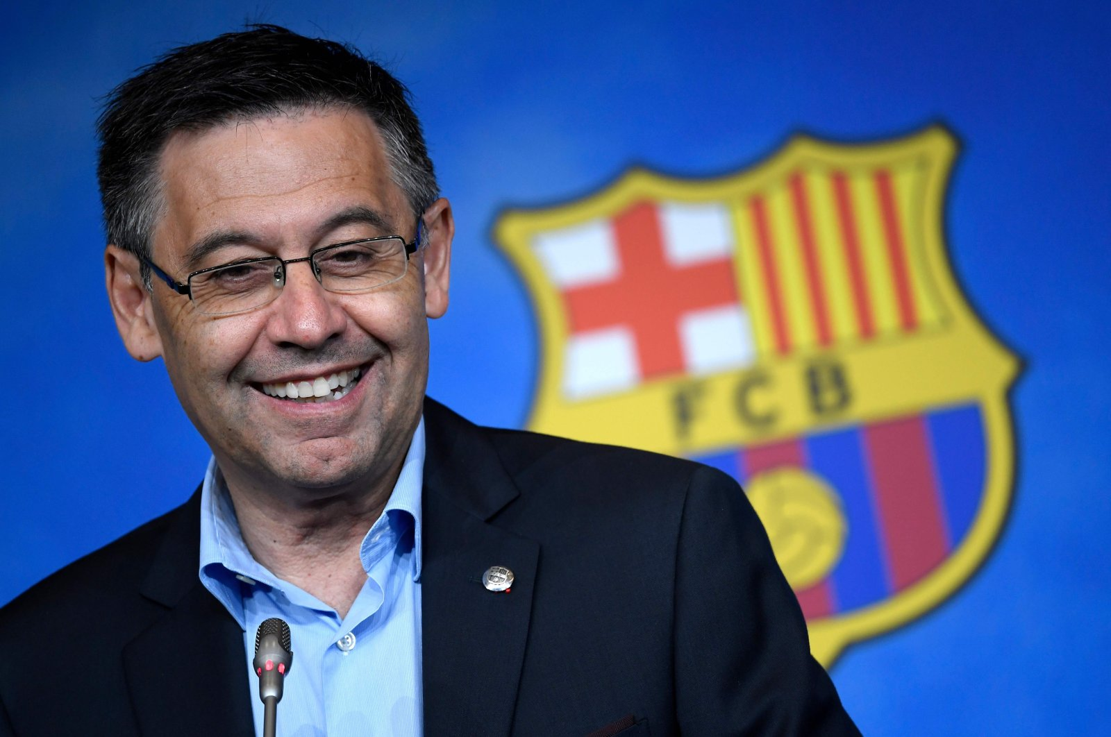 Barcelona's club president Josep Maria Bartomeu reacts during a news conference at the Camp Nou stadium in Barcelona, July 5, 2019. (AFP Photo)