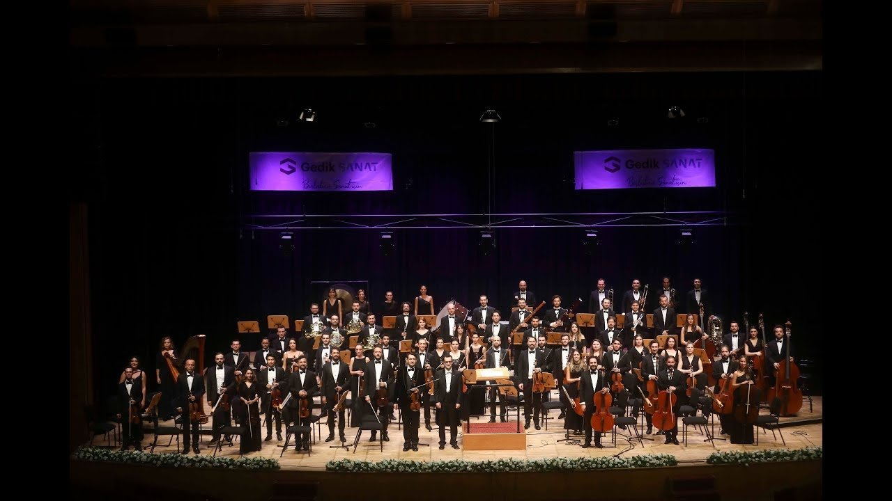 A still shot from the season opening concert of the Gedik Philharmonic Orchestra at Cemal Reşit Rey Concert Hall, Istanbul, Turkey, Oct. 30, 2020.