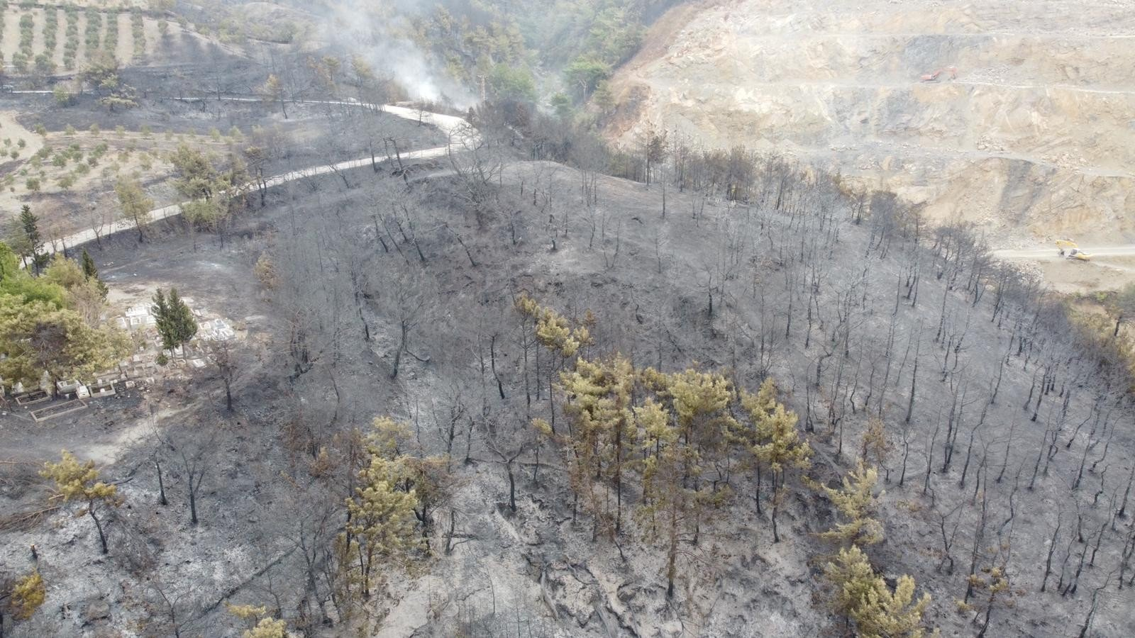 An aerial view of the area damaged by the forest fire, in Hatay, southern Turkey, Oct. 28, 2020. (İHA Photo)