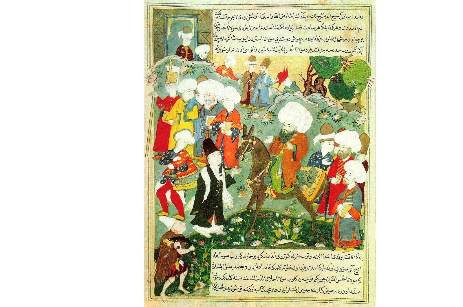 An Ottoman-era miniature depicts Mevlana Jalaluddin Rumi on horseback and Persian poet Shams-e Tabrizi in front of him.