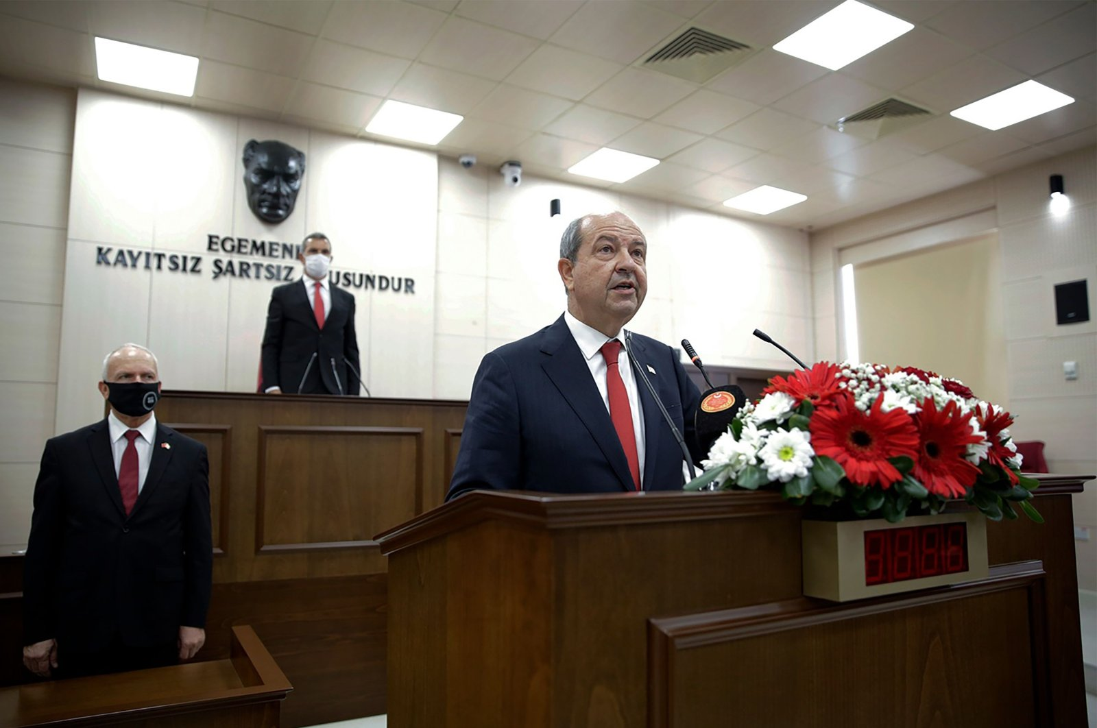 Ersin Tatar, the newly-elected Turkish Cypriot President, speaks during the oath-taking ceremony at the parliament headquarters in Lefkoşa (Nicosia), Oct. 23, 2020. (AFP Photo)