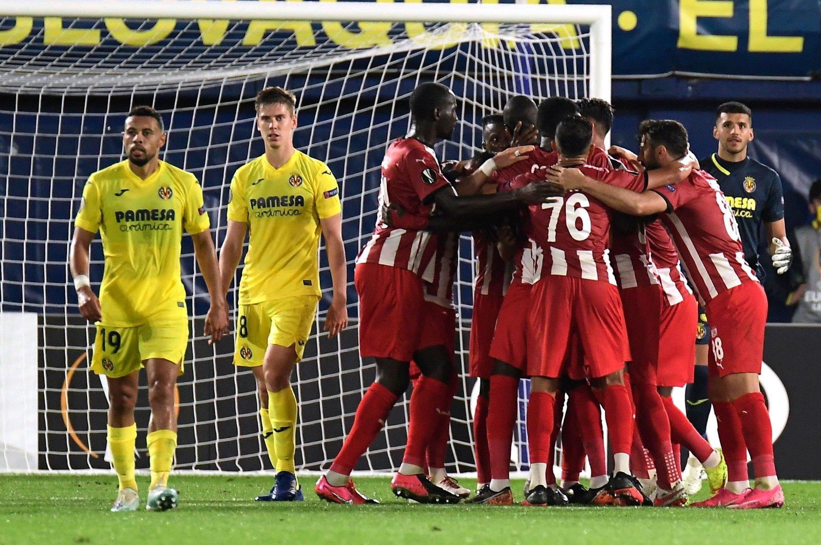 Sivasspor's players celebrate after scoring a goal against Villarreal, in Villarreal, Spain, Oct. 22, 2020. (AFP Photo)