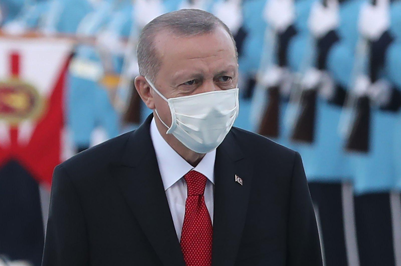President Recep Tayyip Erdoğan attends an official ceremony in Ankara, Turkey, Oct. 26, 2020. (AFP)