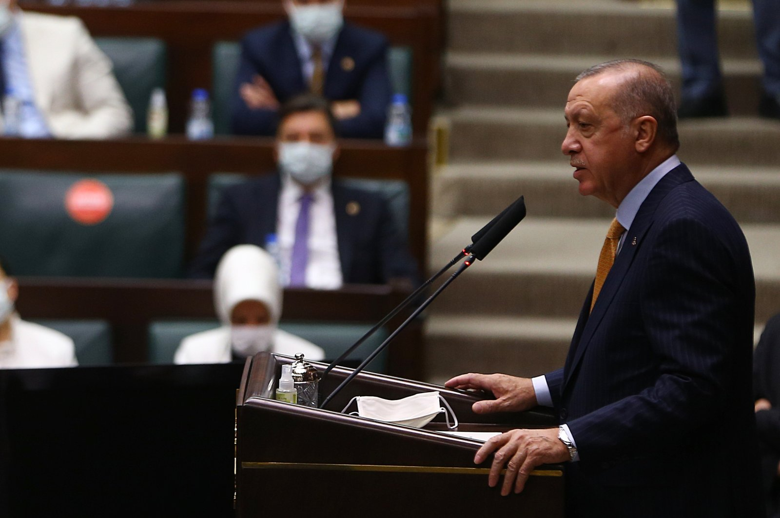 President Recep Tayyip Erdoğan gives a speech at the Justice and Development Party (AK Party) parliamentary group meeting in Ankara, Turkey, Oct. 28, 2020. (AA Photo)