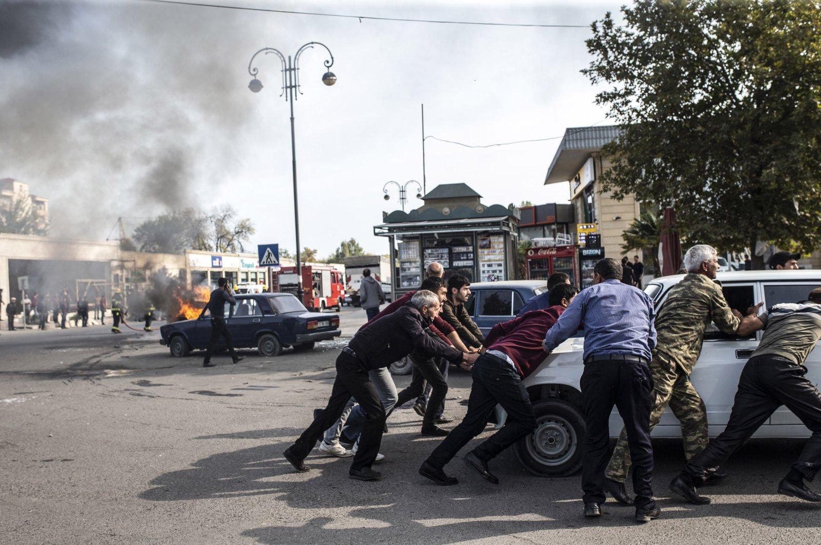 Armenia launched missile attacks on Azerbaijan's Barda city, killing at least 20 civilians, Oct. 28, 2020. (AA Photo)