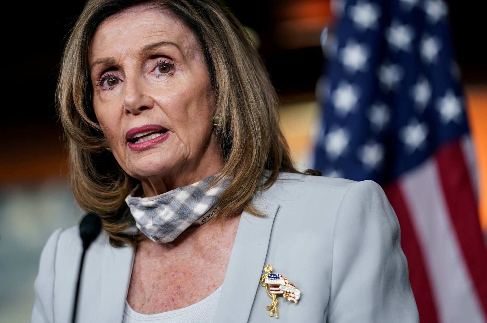 U.S. House Speaker Nancy Pelosi (D-CA) speaks about stalled congressional talks with the Trump administration on the latest coronavirus relief during her weekly news conference on Capitol Hill in Washington, U.S., Aug. 13, 2020. (Reuters Photo)