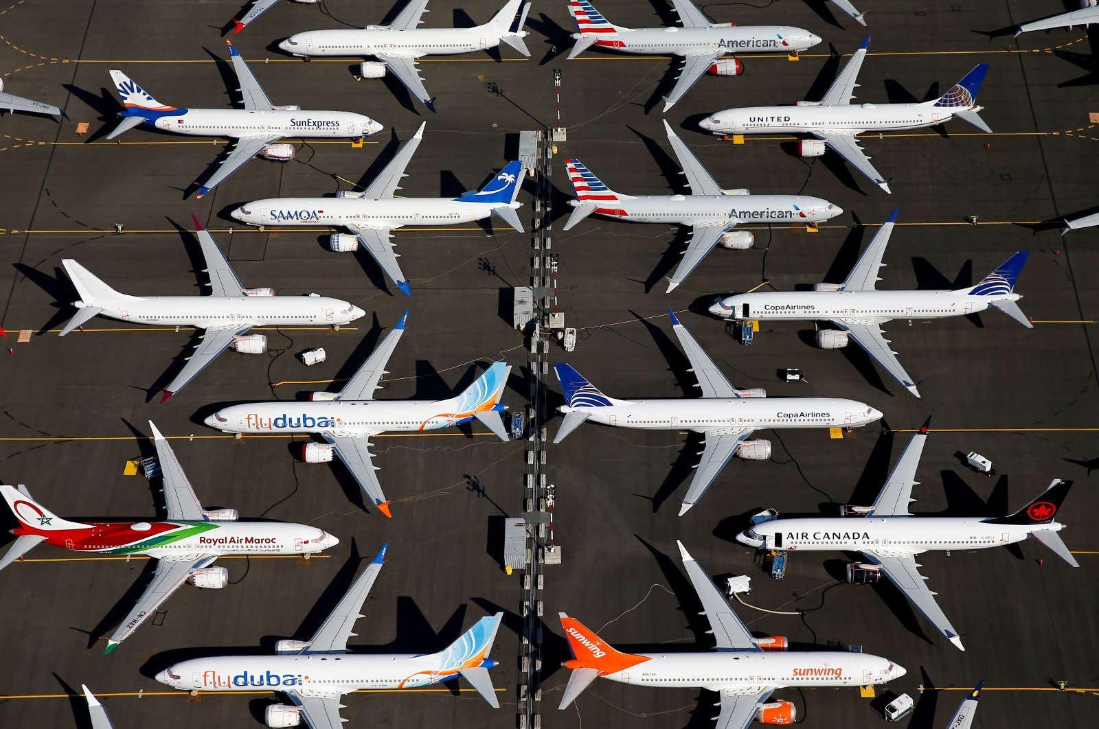 Grounded Boeing 737 MAX aircraft are seen parked in an aerial photo at Boeing Field in Seattle, Washington, U.S., July 1, 2019. (Reuters Photo)