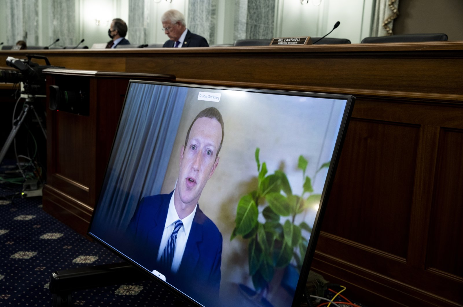 Facebook CEO Mark Zuckerberg appears on a screen as he speaks remotely during a hearing before the Senate Commerce Committee on Capitol Hill, Washington, U.S., Oct. 28, 2020. (AP Photo)