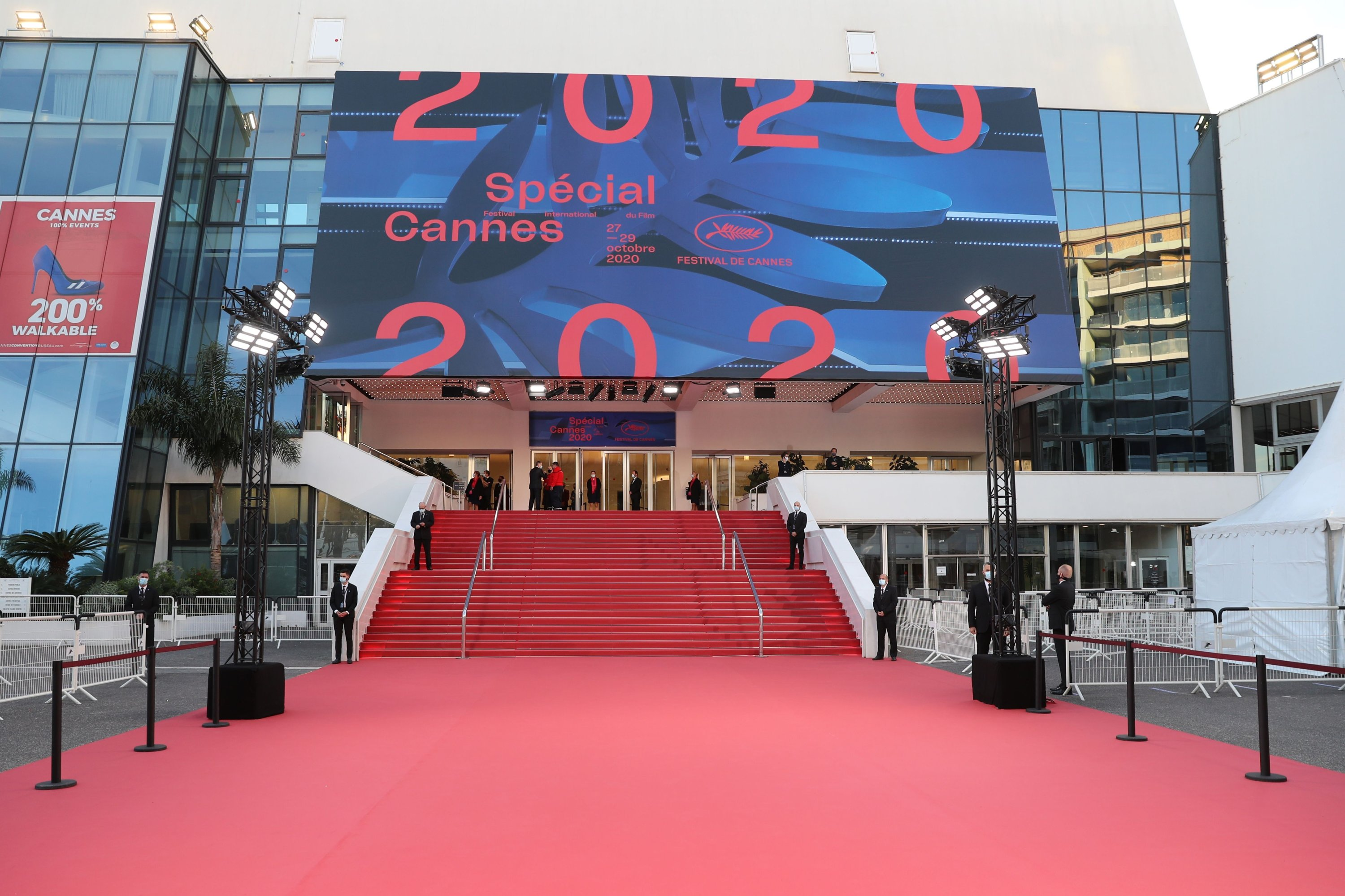 A picture shows a red carpet outside the Palais des Festivals et des Congres ahead of Cannes 2020 Special, a mini-version of the Cannes Film Festival, on Oct. 27, 2020, in Cannes, southeastern France. (AFP PHOTO)