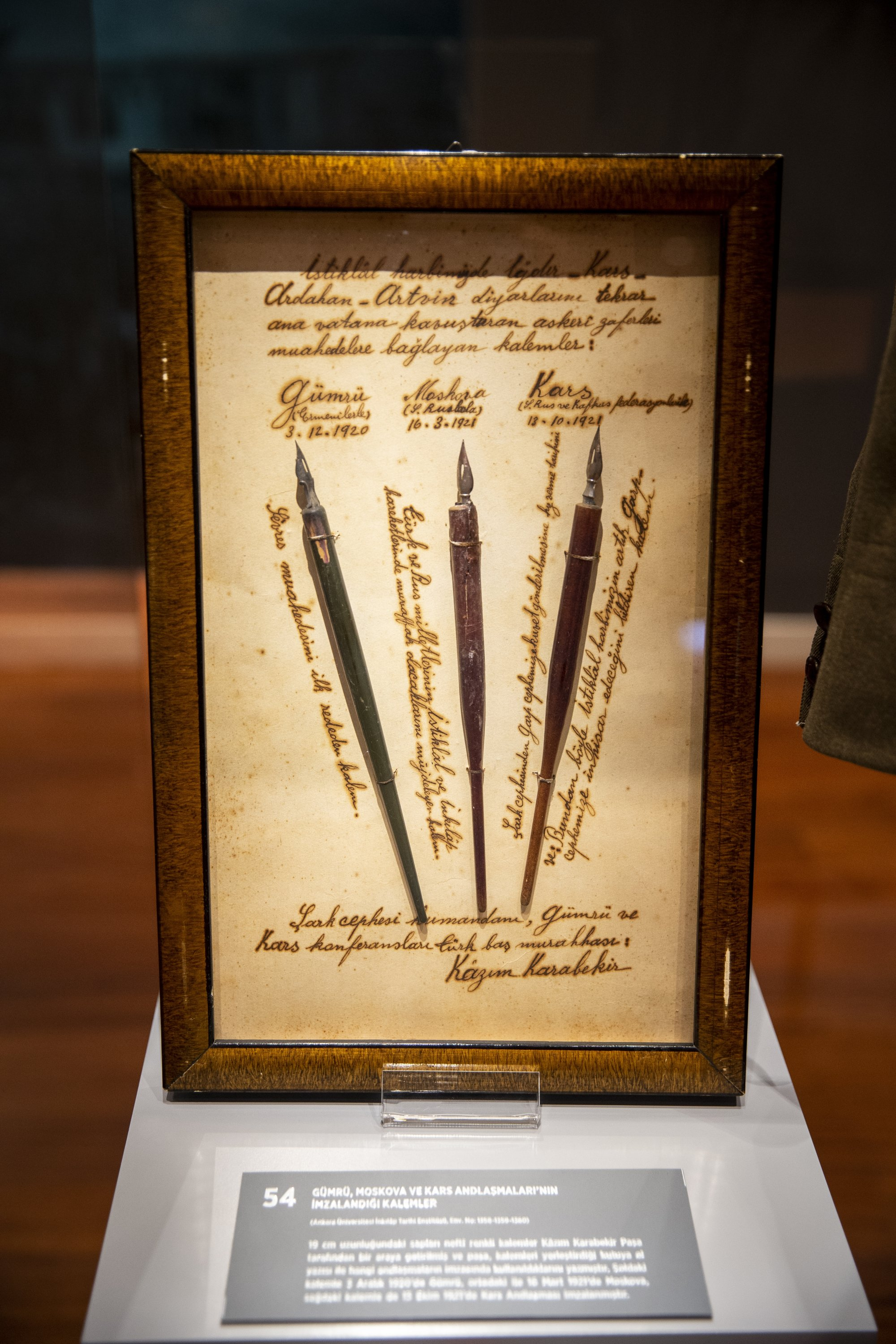 The pens with which the Alexandropol, Kars and Moscow treaties were signed are on display at the exhibition, Ankara, Turkey, Oct. 28, 2020. (AA Photo)