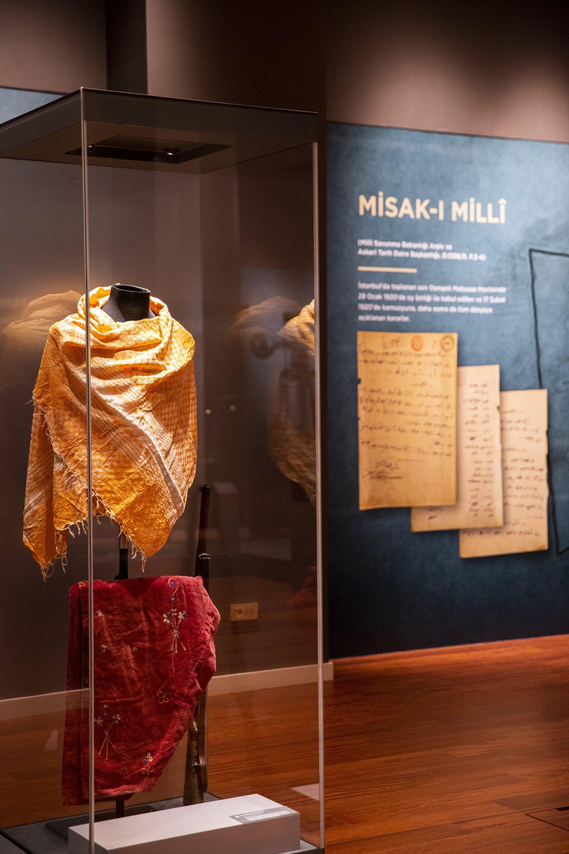 The cotton yashmak and harem pants belonging to Satı Kadın at the exhibition, Ankara, Turkey, Oct. 28, 2020. (AA Photo)