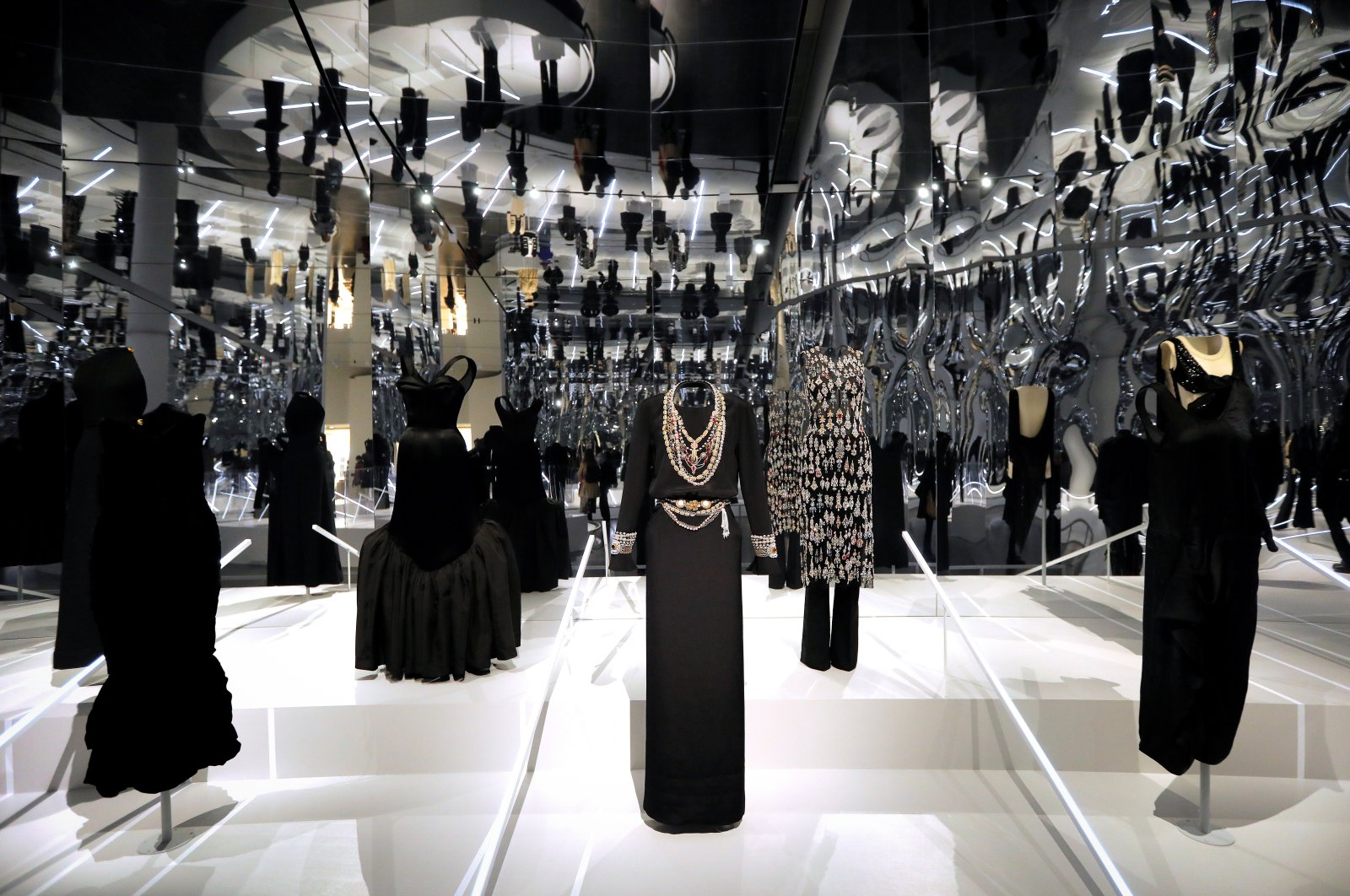 "Creations are displayed at The Costume Institute's exhibition, ""About Time: Fashion and Duration,"" during a press preview at the Metropolitan Museum of Art in Manhattan in New York City, New York, U.S., Oct. 26, 2020. (REUTERS PHOTO)"