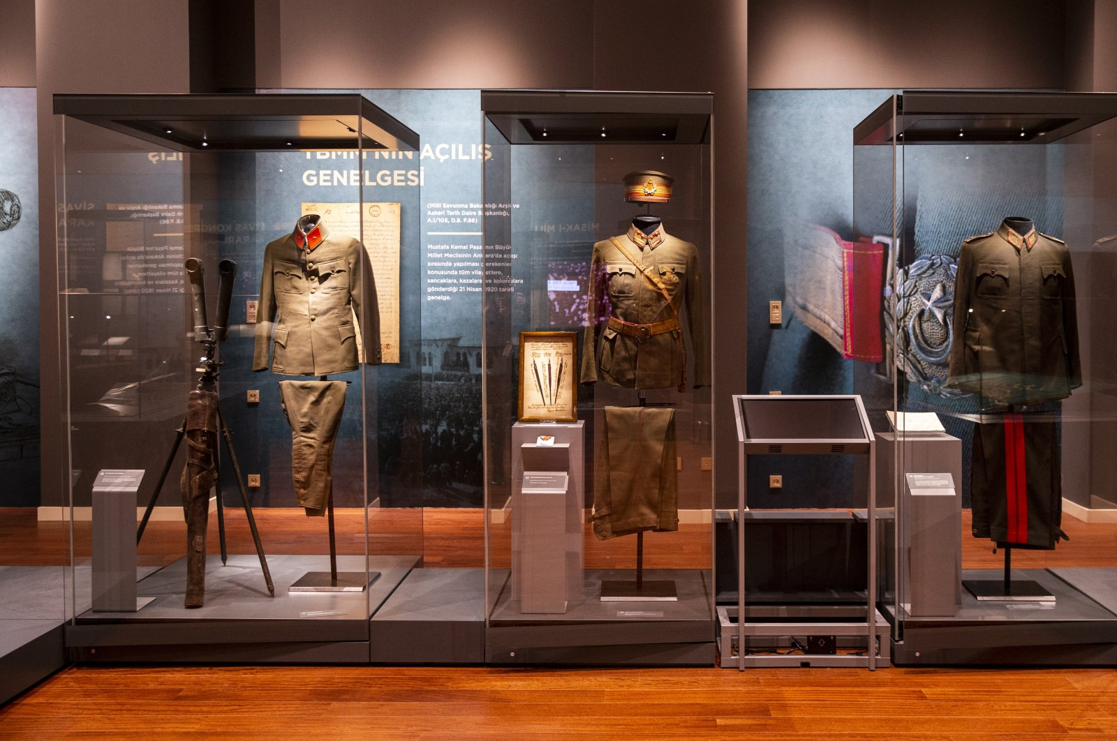 Military uniforms from the exhibition at the Presidential Library, Ankara, Turkey, Oct. 28, 2020. (AA Photo)