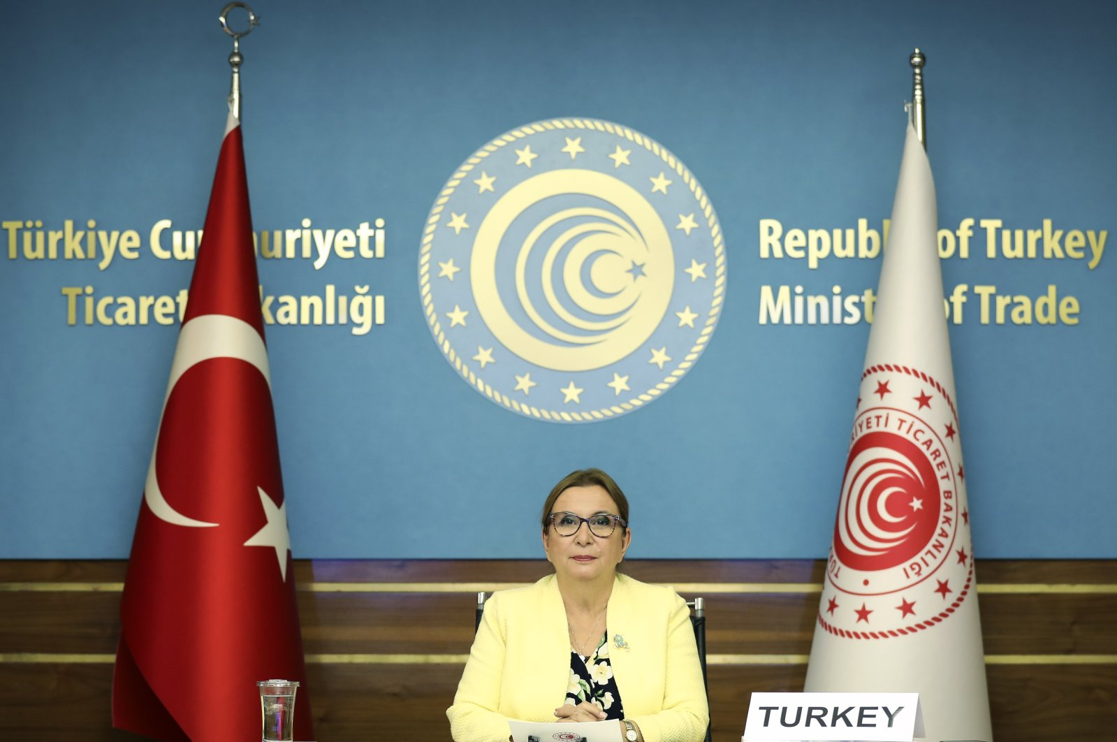 Turkish Trade Minister Ruhsar Pekcan attends the 2020 Ministers Council Meeting of the Organization for Economic Co-operation and Development held online, the capital Ankara, Oct. 29, 2020. (AA Photo)
