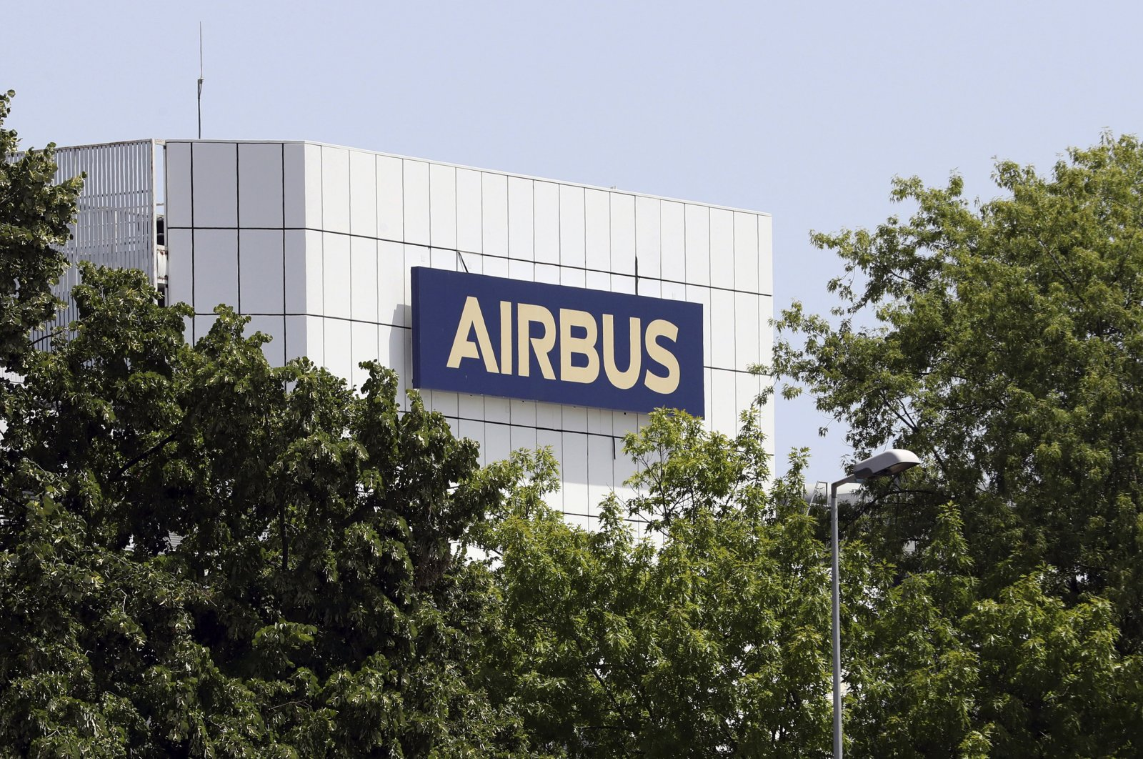 The logo of the Airbus group is displayed in Toulouse, south of France, July 9, 2020. (AP Photo)