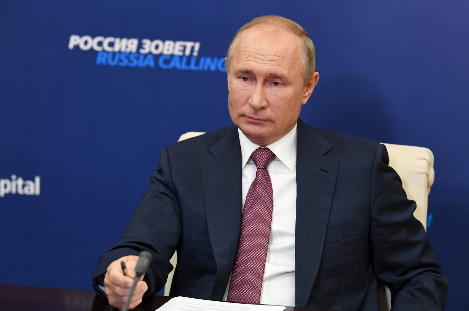 "Russian President Vladimir Putin attends an annual VTB Capital ""Russia Calling!"" Investment Forum via video conference at the Novo-Ogaryovo residence outside Moscow, Russia, Oct. 29, 2020. (AP Photo)"