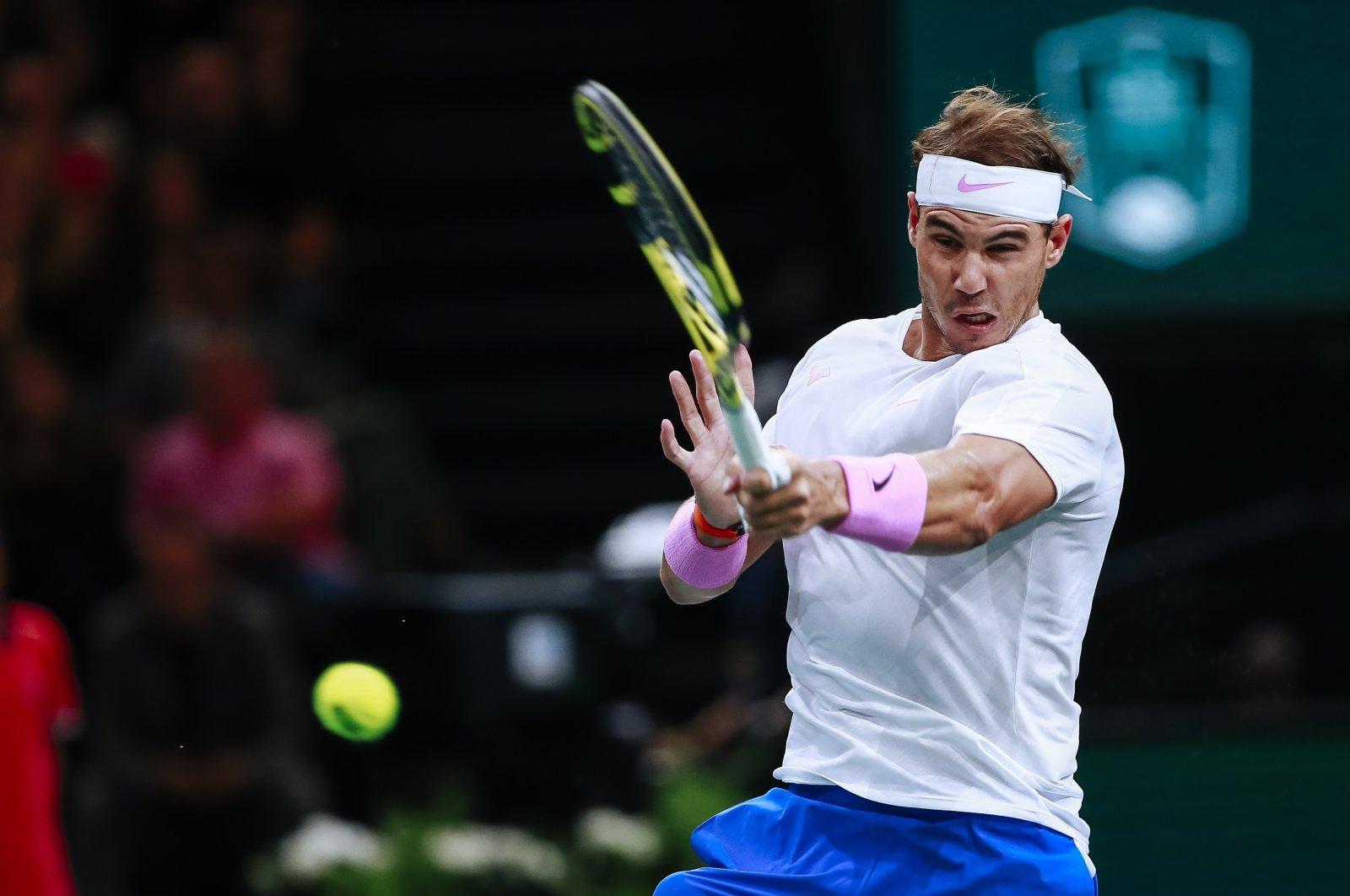 Rafael Nadal in action during a Paris Masters quarterfinal match against Jo Wilfried Tsonga, in Paris, France, Nov. 1, 2019. (AP Photo)