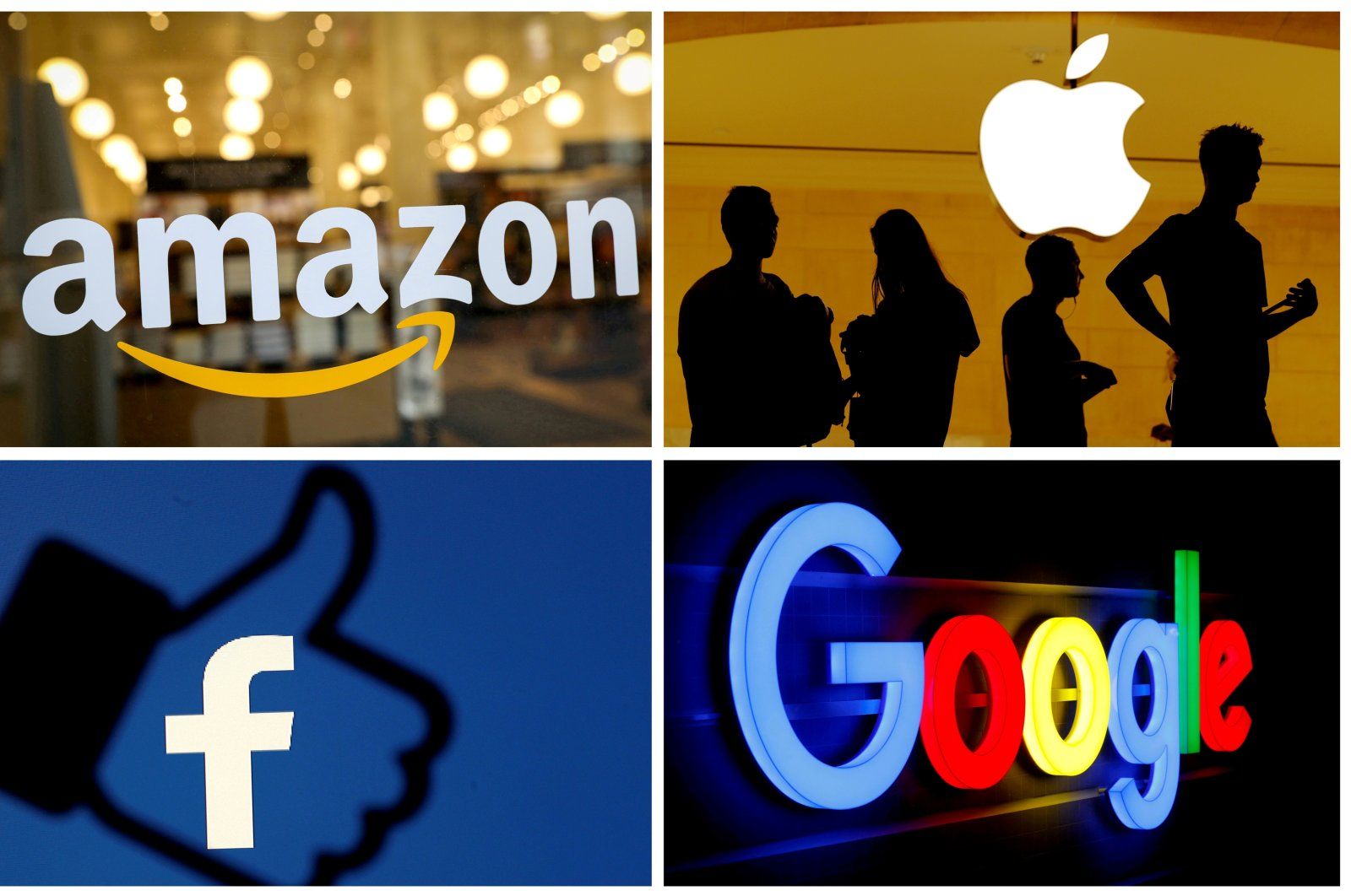 The logos of Amazon, Apple, Facebook and Google in a combination photo. (Reuters Photo)