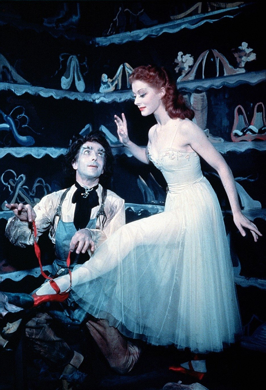 Emeric Pressburger (L) and Moira Shearer in a scene from