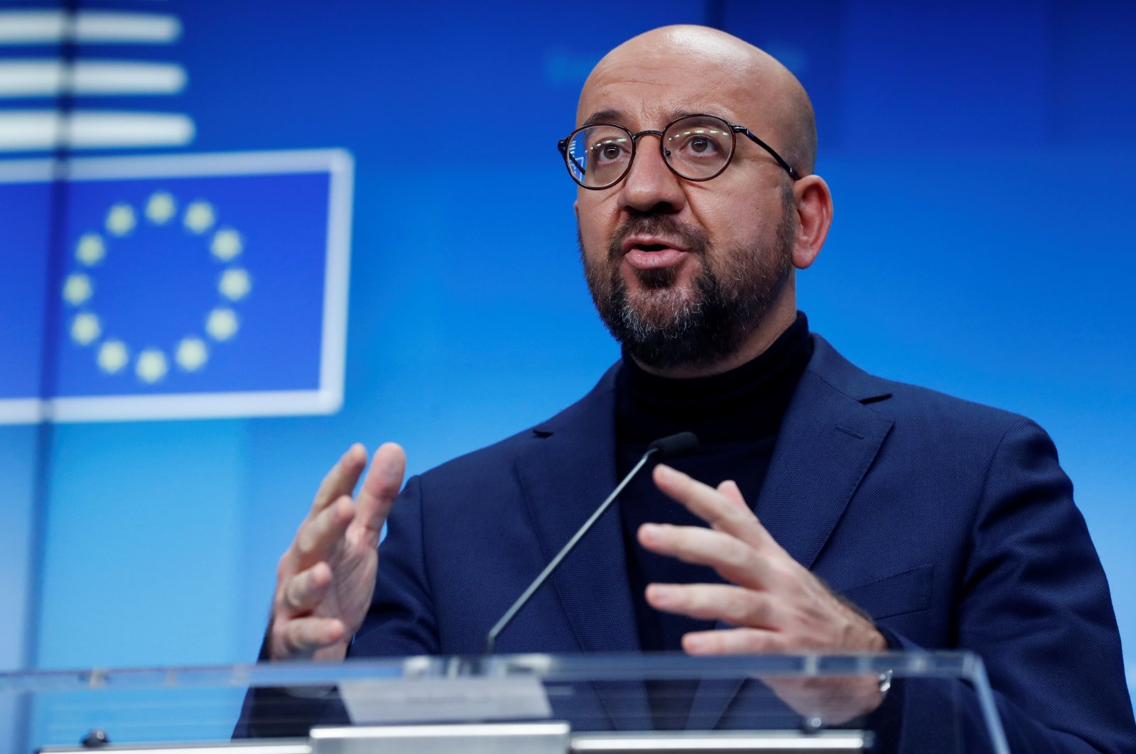 European Council President Charles Michel gives a press briefing at the end of a European Council meeting in Brussels, Belgium, Oct. 29, 2020. (AFP Photo)