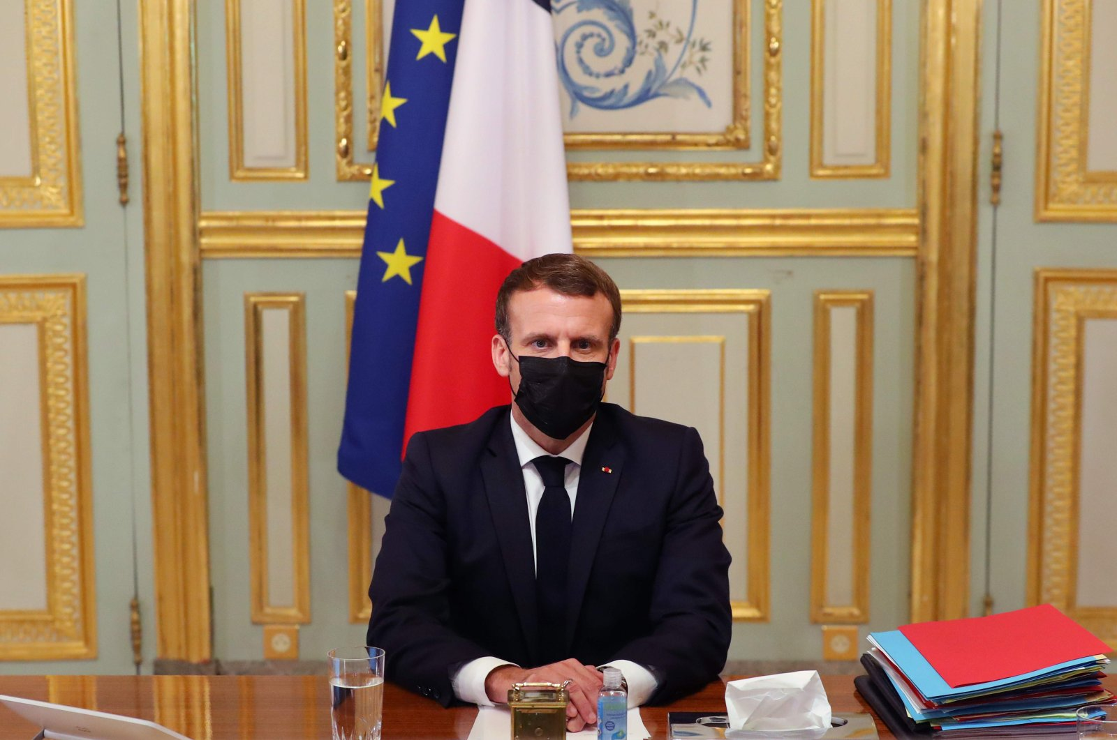 French President Emmanuel Macron takes part in a video conference at the Elysee Palace in Paris, France, Oct. 29, 2020. (AFP Photo)