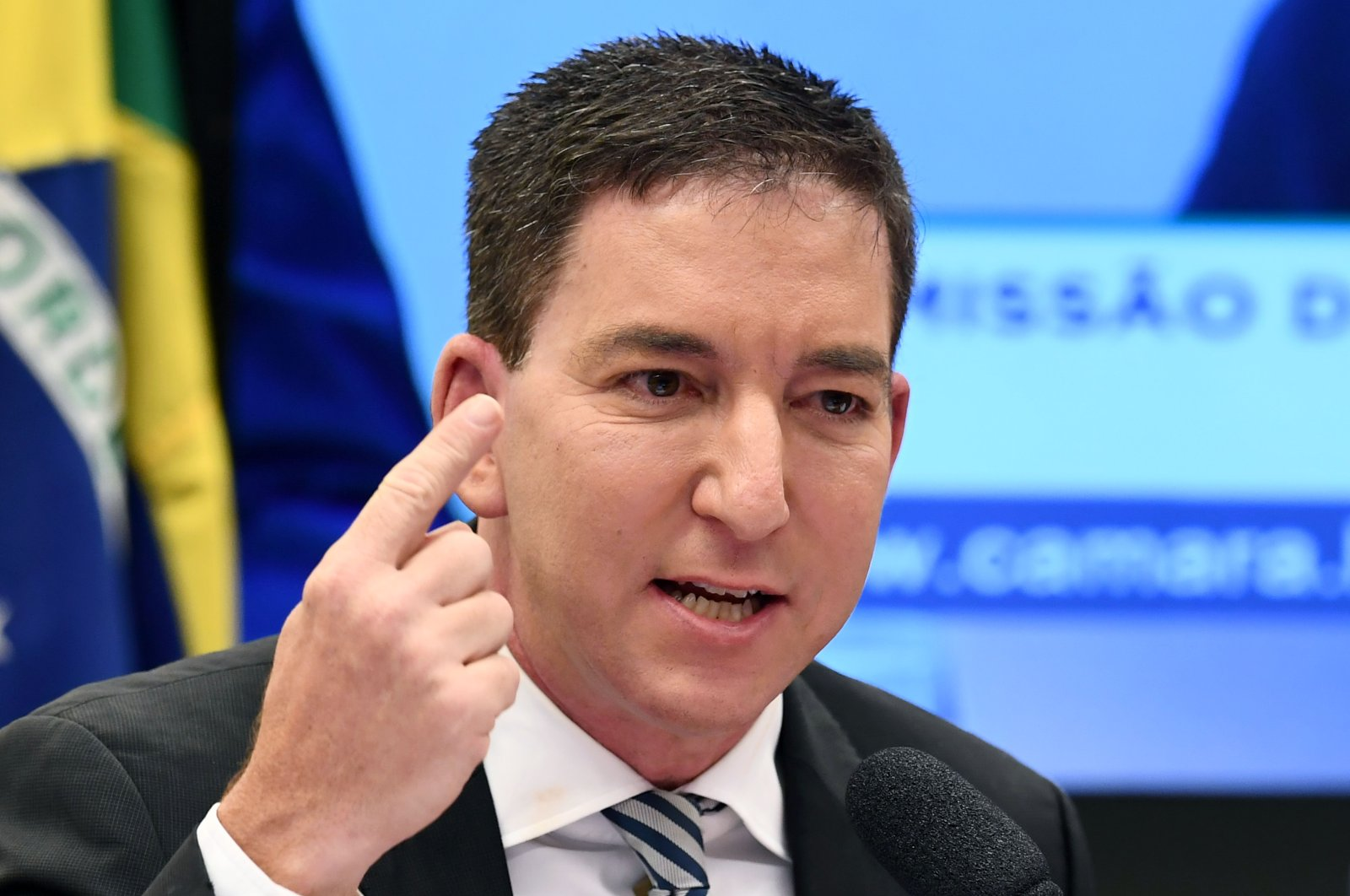 In this June 25, 2019 file photo, U.S. journalist Glenn Greenwald, founder and editor of The Intercept website, speaks during a hearing at the Lower House's Human Rights Commission in Brasilia, Brazil. (AFP Photo)