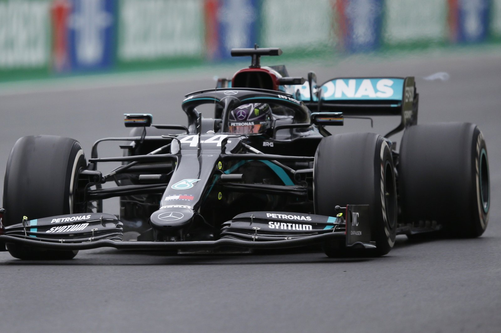 Mercedes driver Lewis Hamilton in action during the F1 Portuguese Grand Prix, in Portimao, Portugal, Oct. 25, 2020. (Reuters Photo)