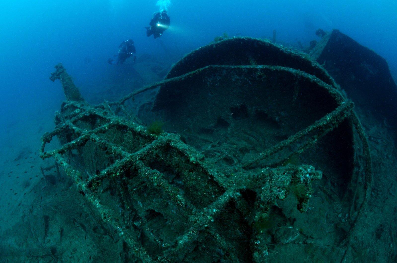 Wreckage of the HMS Majestic underwater, in Çanakkale, western Turkey, Oct. 30, 2020. (DHA Photo)