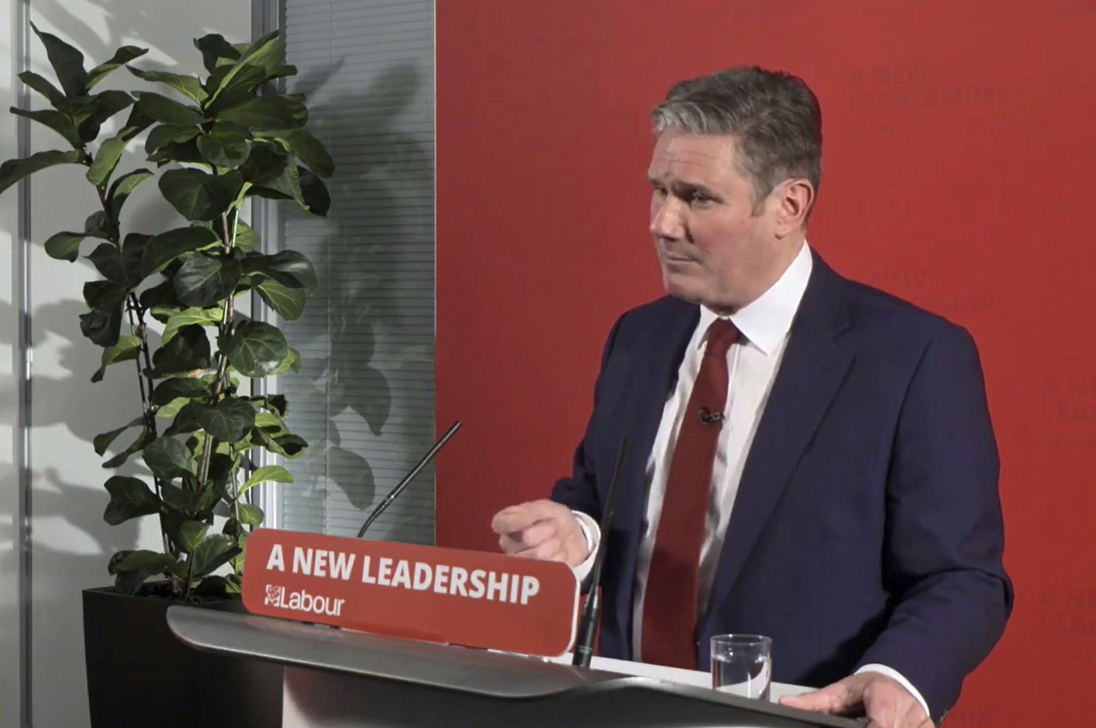 Britain's Labour Party leader Keir Starmer makes a statement, London, Oct. 29, 2020. (AP Photo)