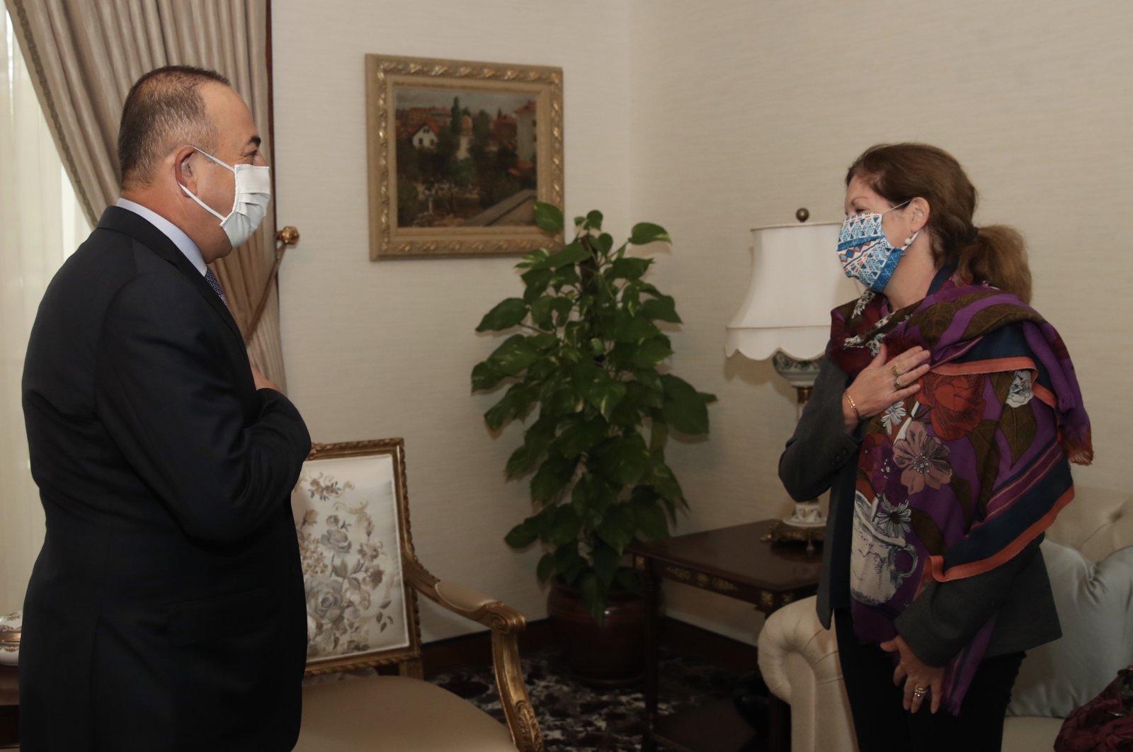 Foreign Minister Mevlüt Çavuşoğlu met with United Nations Special envoy to Libya Stephanie Turco Williams in Ankara on Oct. 30, 2020 (AA Photo)