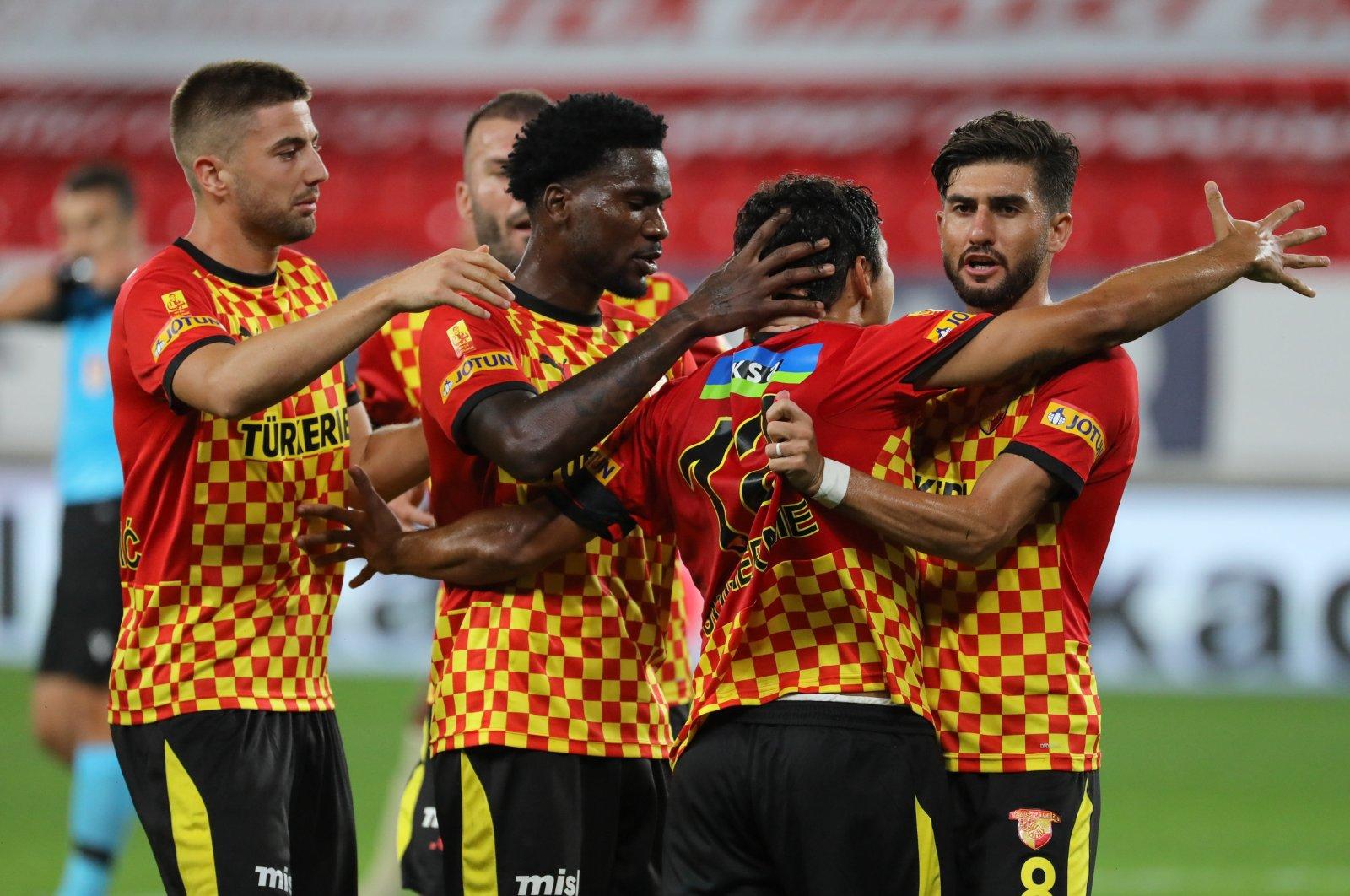 Göztepe players celebrate a goal during a Süper Lig match in Izmir, Turkey, Oct. 18, 2020. (AA Photo)