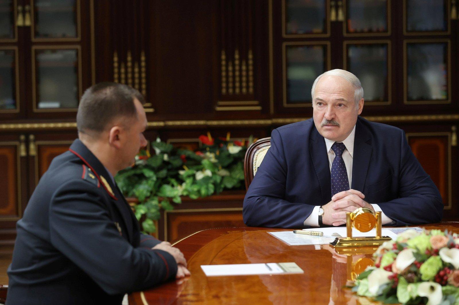 Belarusian President Alexander Lukashenko meets with newly-appointed Interior Minister Ivan Kubrakov in Minsk, Belarus, Oct. 29, 2020. (Reuters Photo)