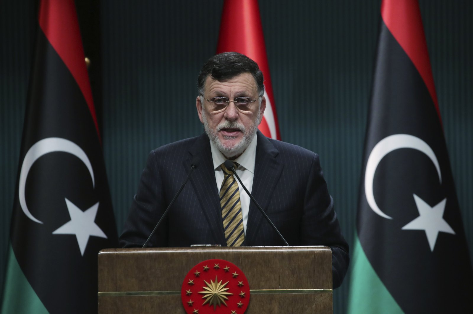 Fayez Sarraj, the head of Libya's internationally-recognized government, speaks at a joint news conference with President Recep Tayyip Erdoğan, in Ankara, Turkey, June 4, 2020. (AP Photo)