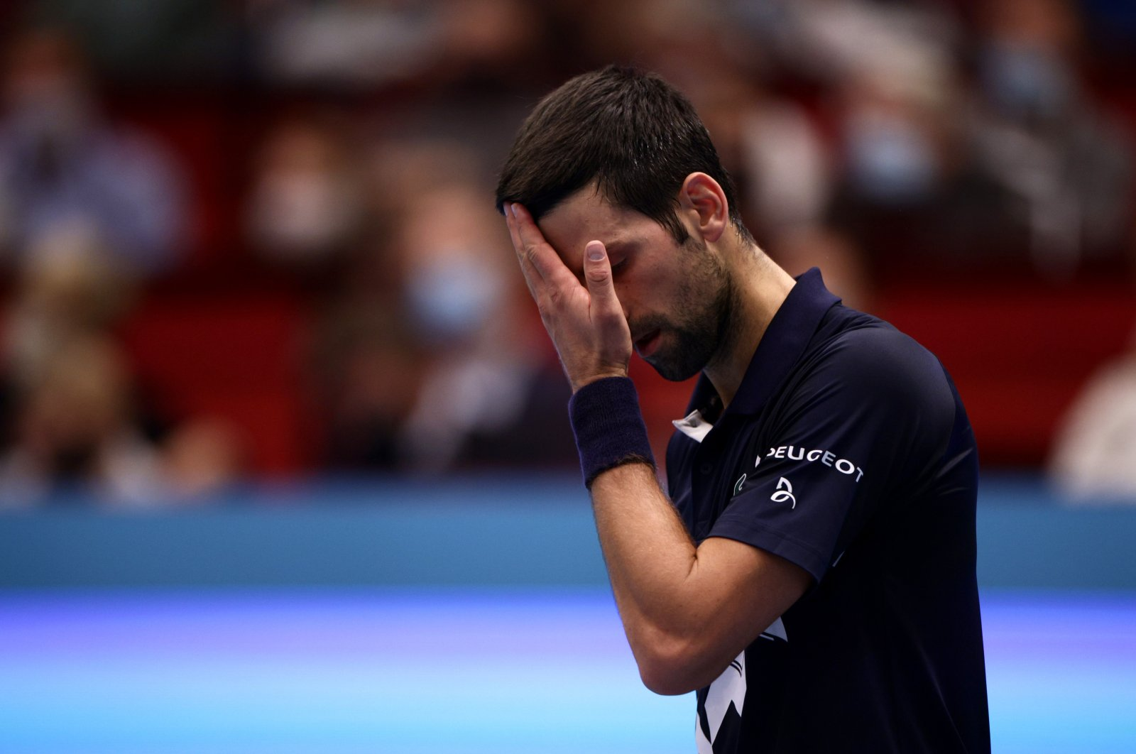 Serbia's Novak Djokovic reacts during his quarterfinal match against Italy's Lorenzo Sonego, Vienna, Oct. 30, 2020. (Reuters Photo)