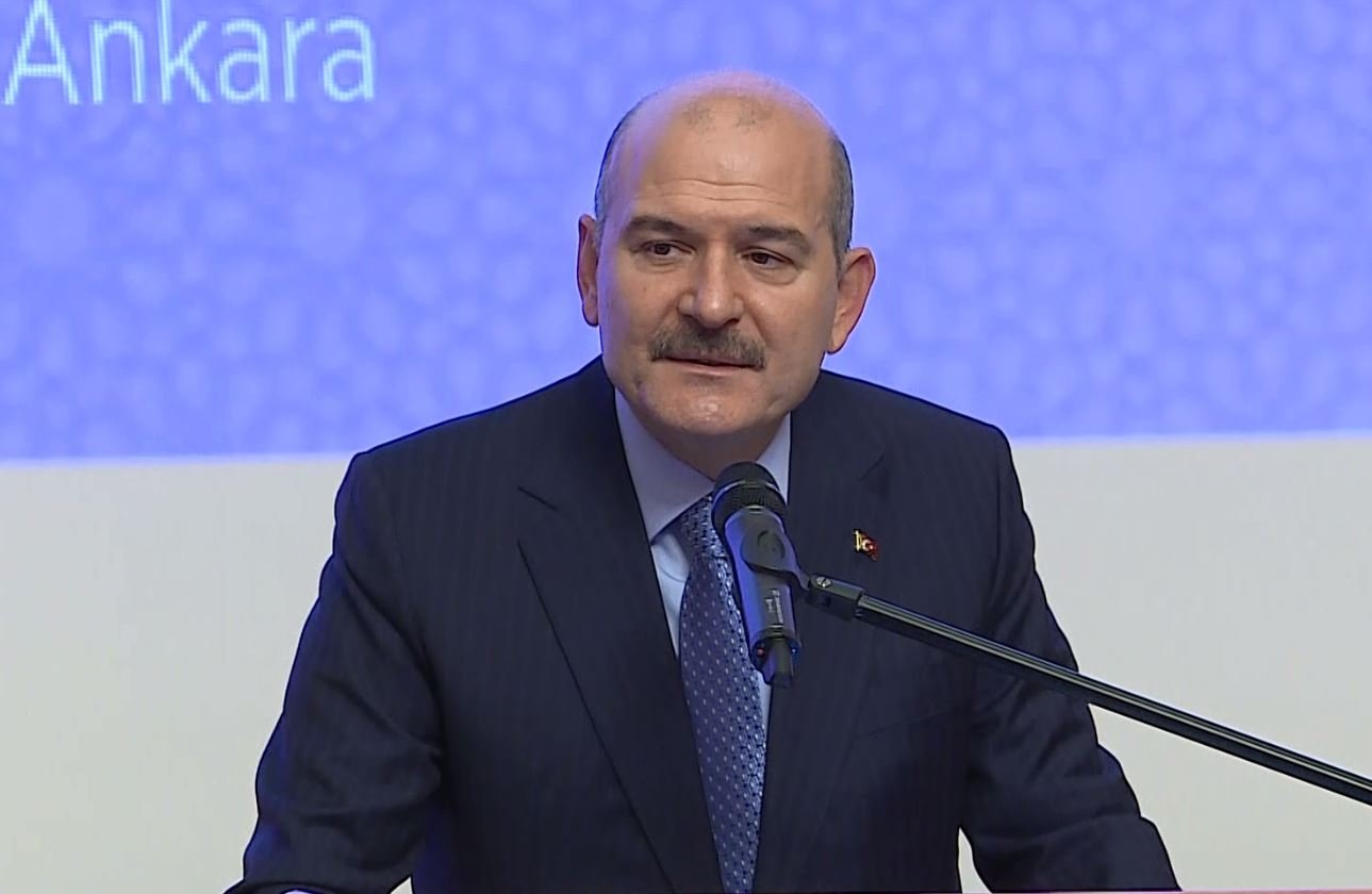 Interior Minister Süleyman Soylu speaks during a meeting in the capital Ankara, Turkey, Oct. 26, 2020. (DHA Photo)