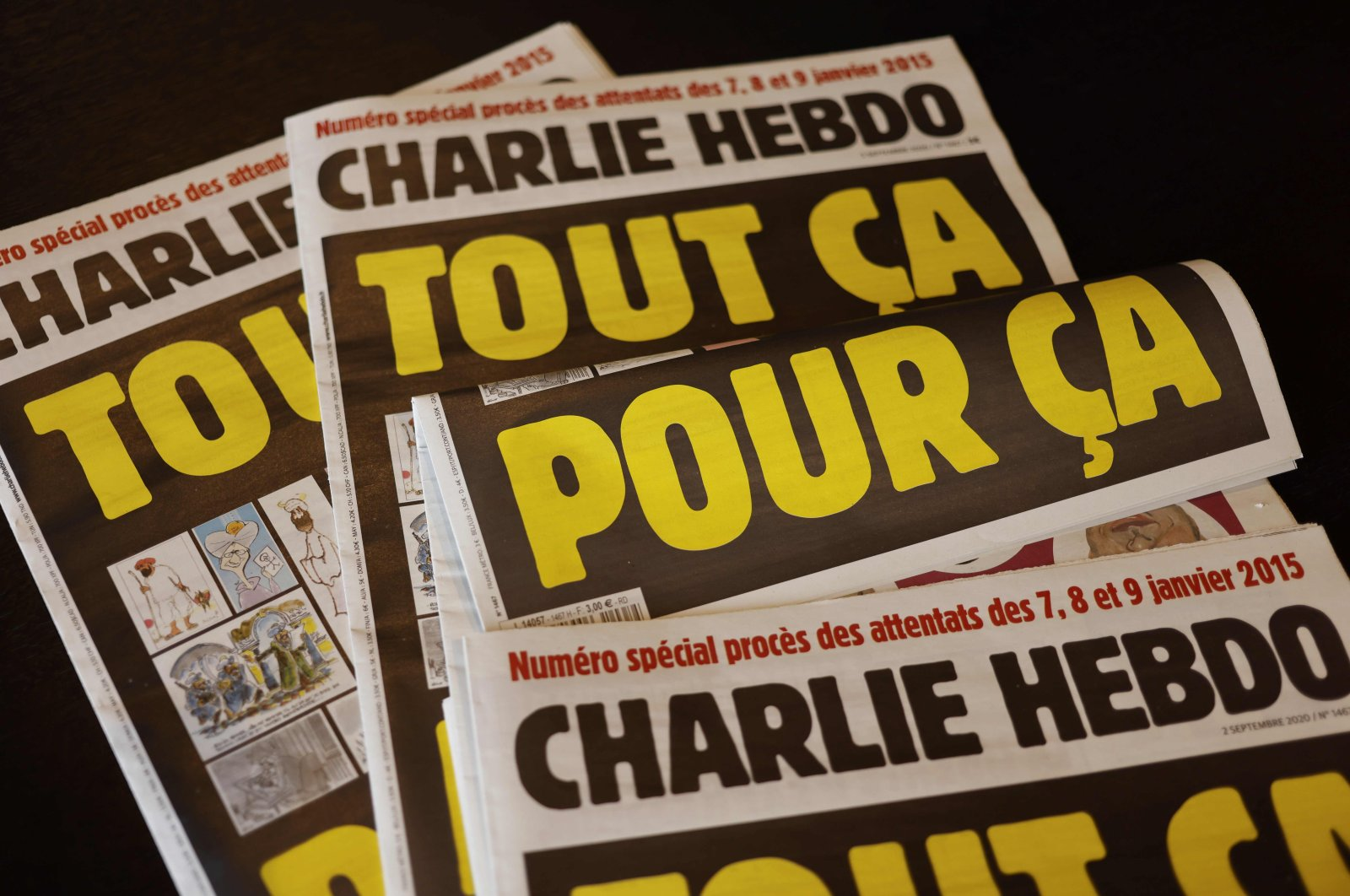 This picture taken on Sept. 1, 2020 in Paris shows covers of French weekly Charlie Hebdo. (AFP Photo)