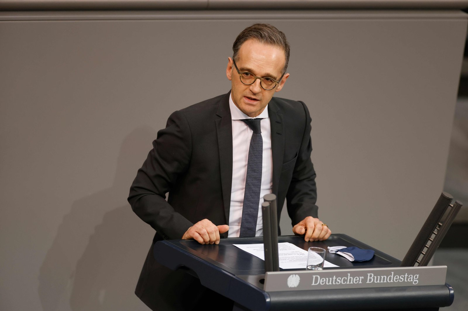 German Foreign Minister Heiko Maas speaks during a session at the Bundestag (lower house of parliament) in Berlin, Oct. 30, 2020. (AFP Photo)