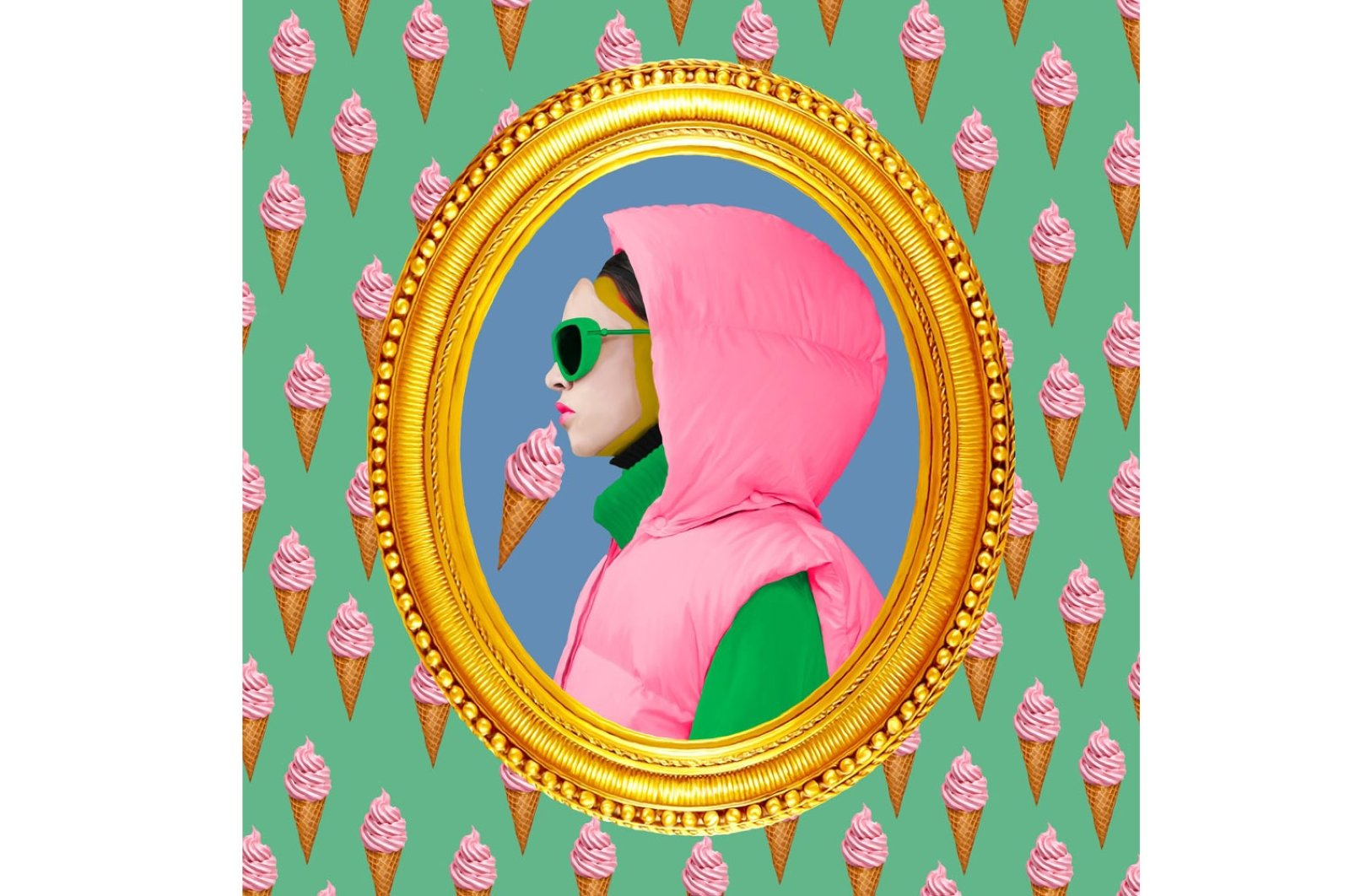 """Kerem Topuz, """"Forget Art Just Lick the Icecream"""", digital art, 100 by 100 centimeters. (Courtesy of Art for Goodness Association)"""