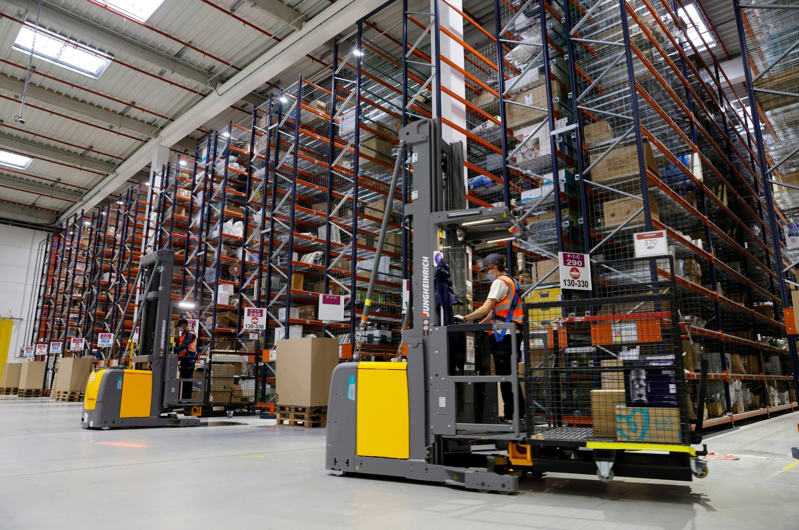 Employees work at the Amazon fulfilment center in Boves near Amiens, France, Sept. 29, 2020. (Reuters File Photo)