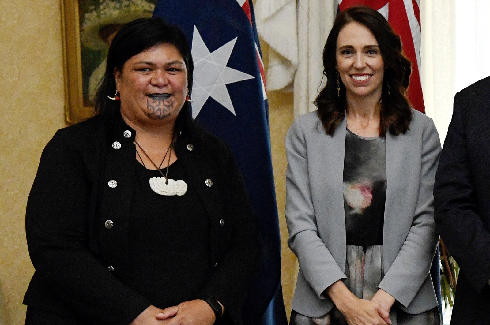 (FILES) This file Feb. 28, 2020 file photo shows New Zealand's Prime Minister Jacinda Ardern (R) and New Zealand's then-Minister of Maori Development and Local Government (L) Nanaia Mahuta posing for photographs after the signing of the Indigenous Collaboration Arrangement with their Australian counterparts at Admiralty House in Sydney. (AFP Photo)