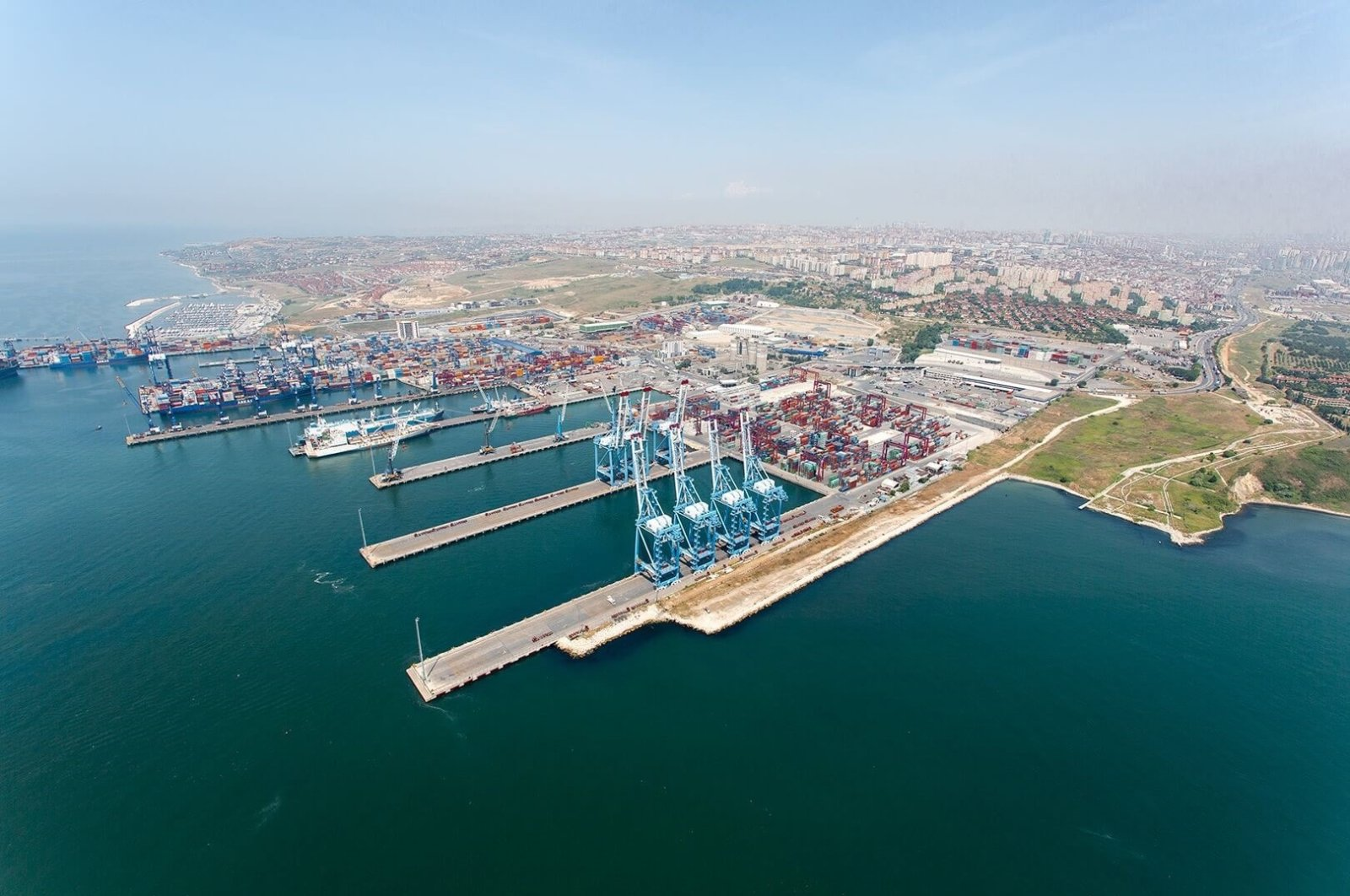 Containers and ships are seen at Kumport, one of Turkey's largest ports, in Istanbul. (Photo courtesy of Kumport)