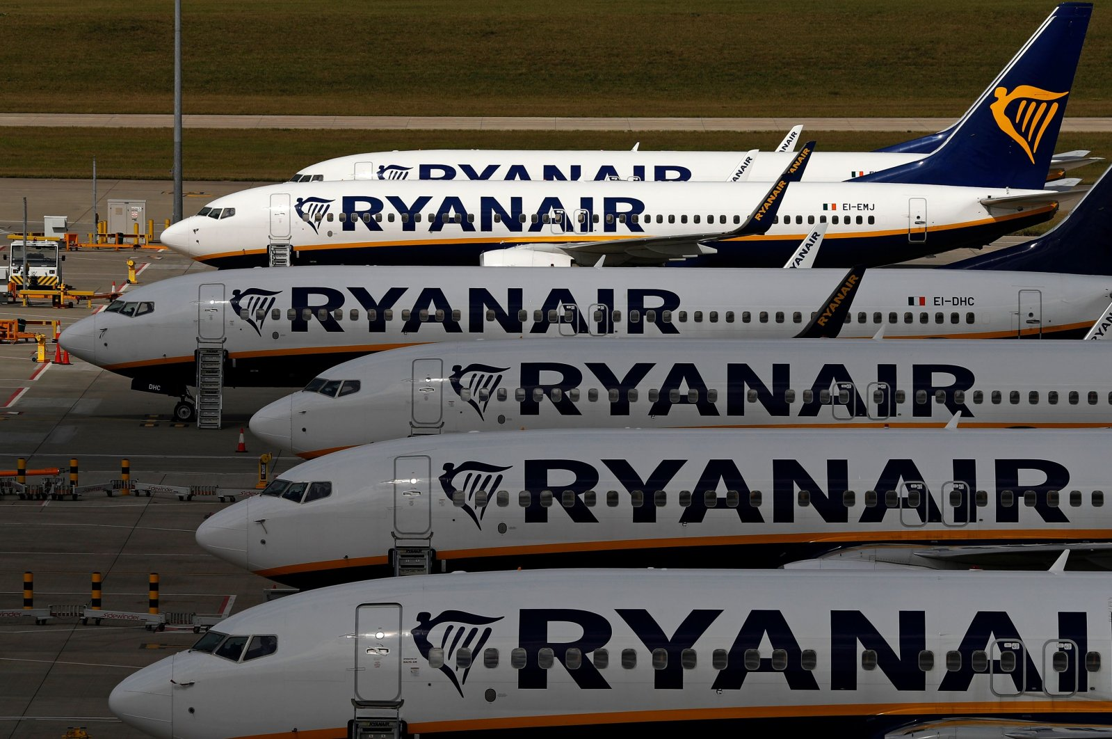 Ryanair aircraft are pictured at Stansted airport, northeast of London,  Aug. 20, 2020. (AFP Photo)