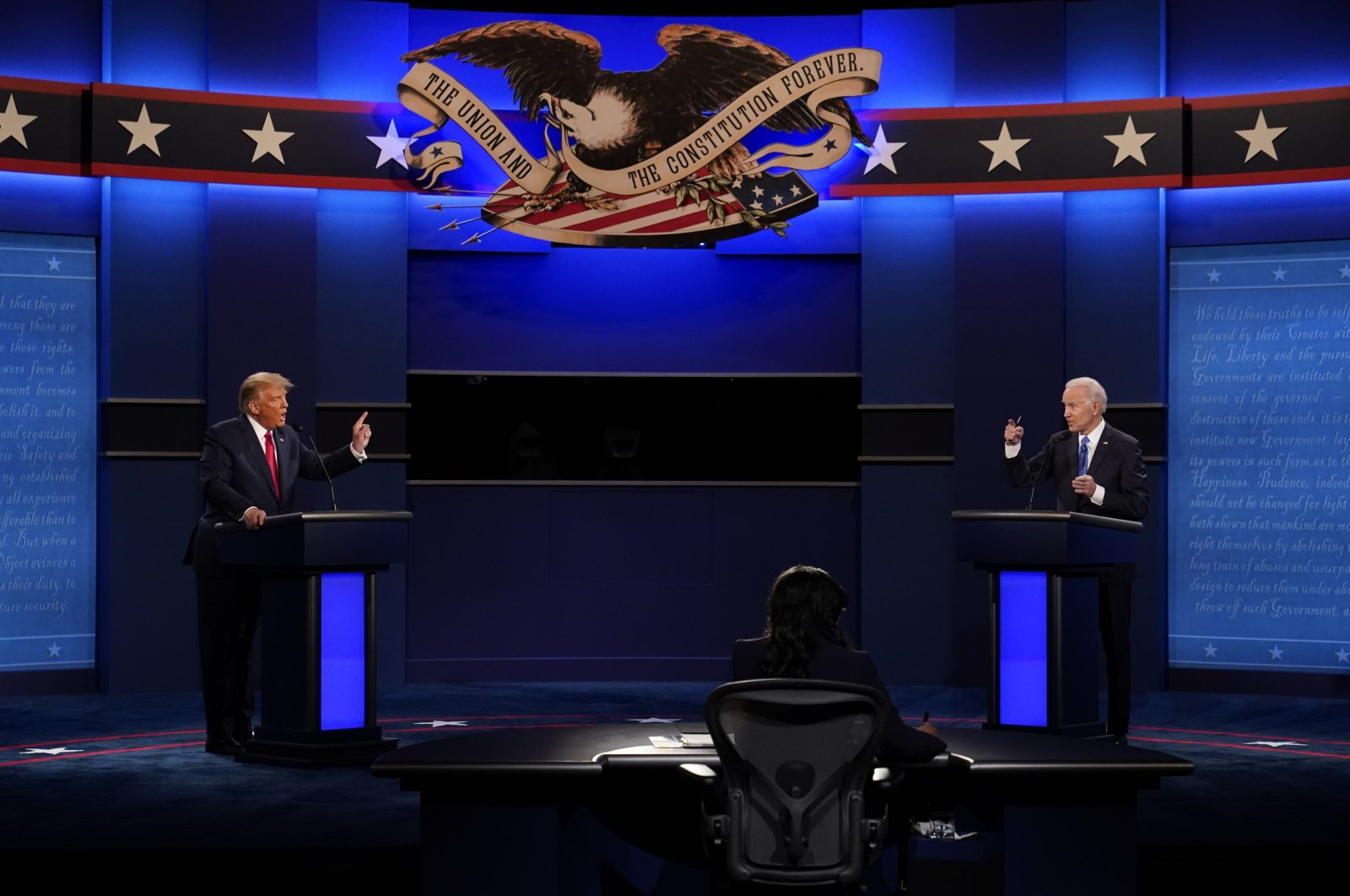 U.S. President Donald Trump and Democratic presidential candidate former Vice President Joe Biden during the second and final presidential debate at Belmont University, Nashville, Tennessee, Oct. 22, 2020. (AP Photo)